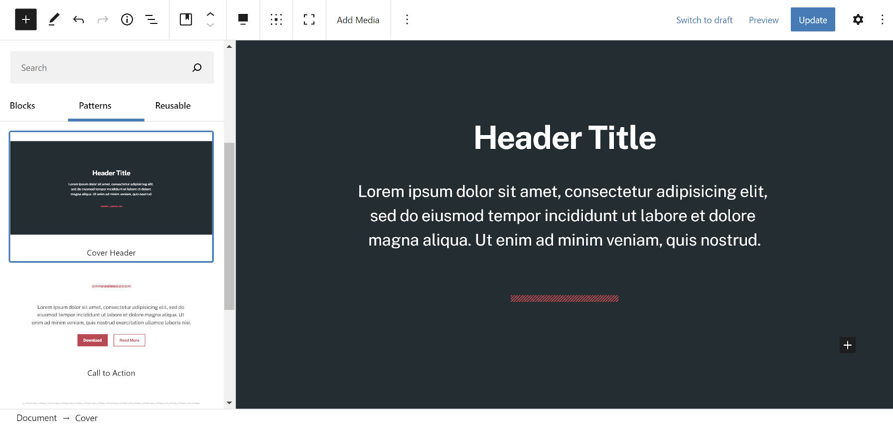 Hero-type pattern with a Cover block and Heading in the WordPress editor.