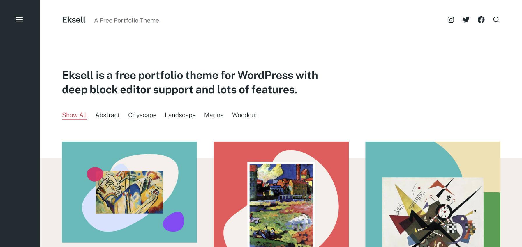 Eksell WordPress theme home/portfolio page.