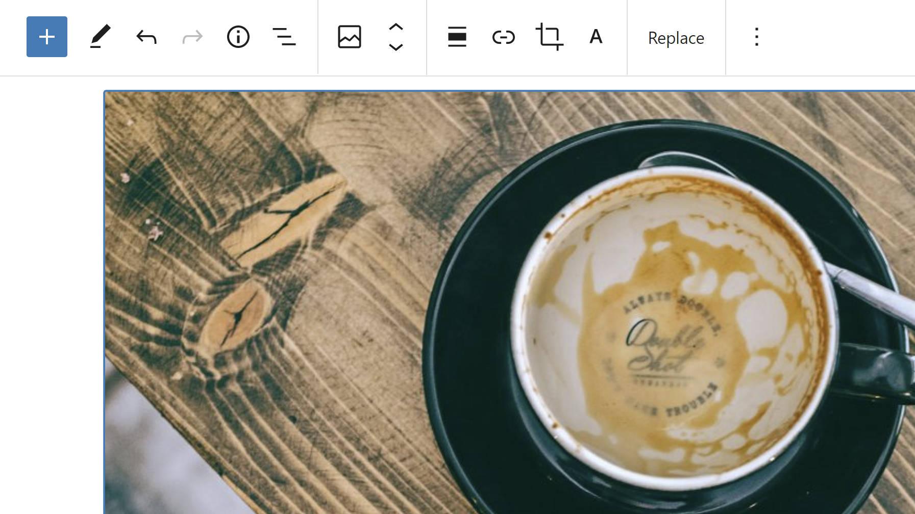 Affichez le nouveau regroupement de la barre d'outils Blocs d'image qui sépare les sections méta, bloc et en ligne.