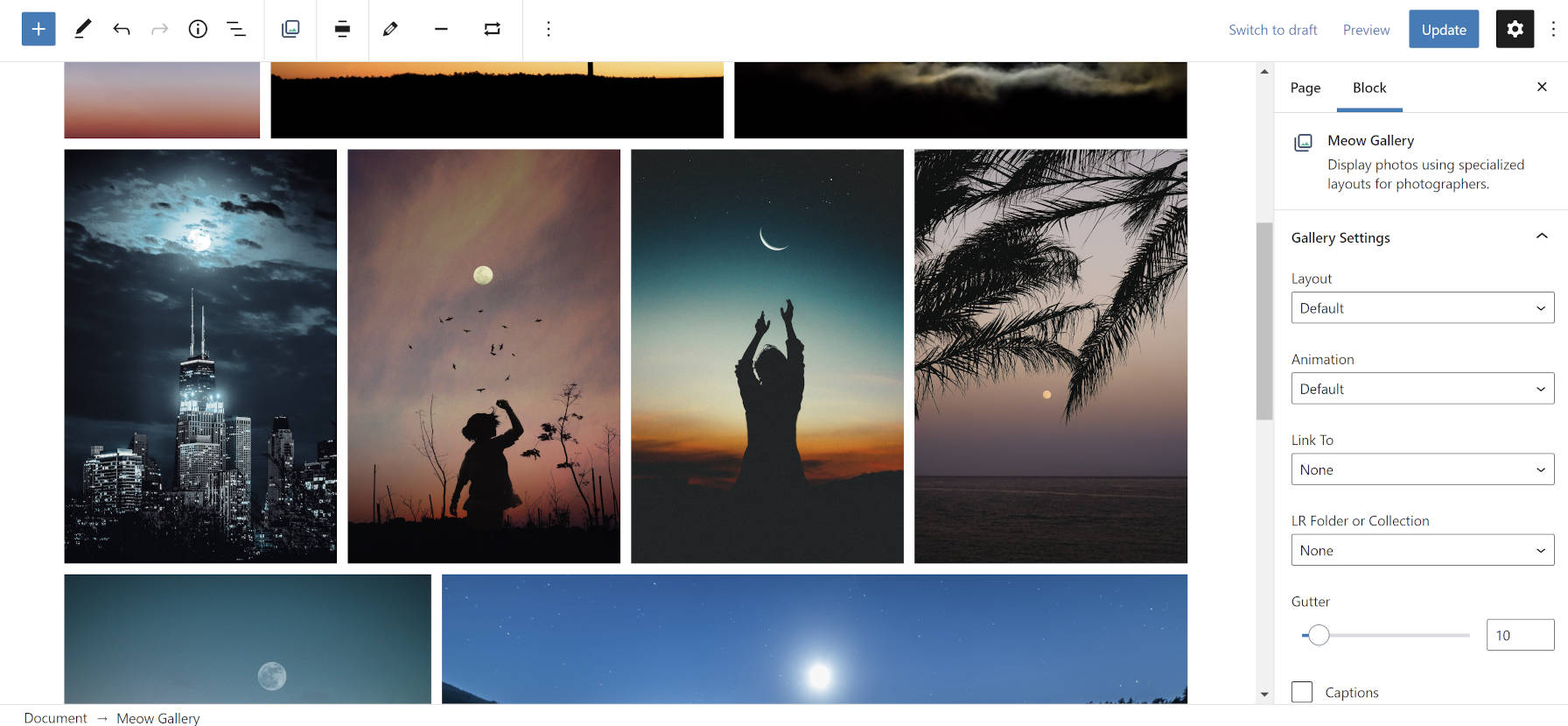 Tiled image gallery using the Meow Gallery plugin.