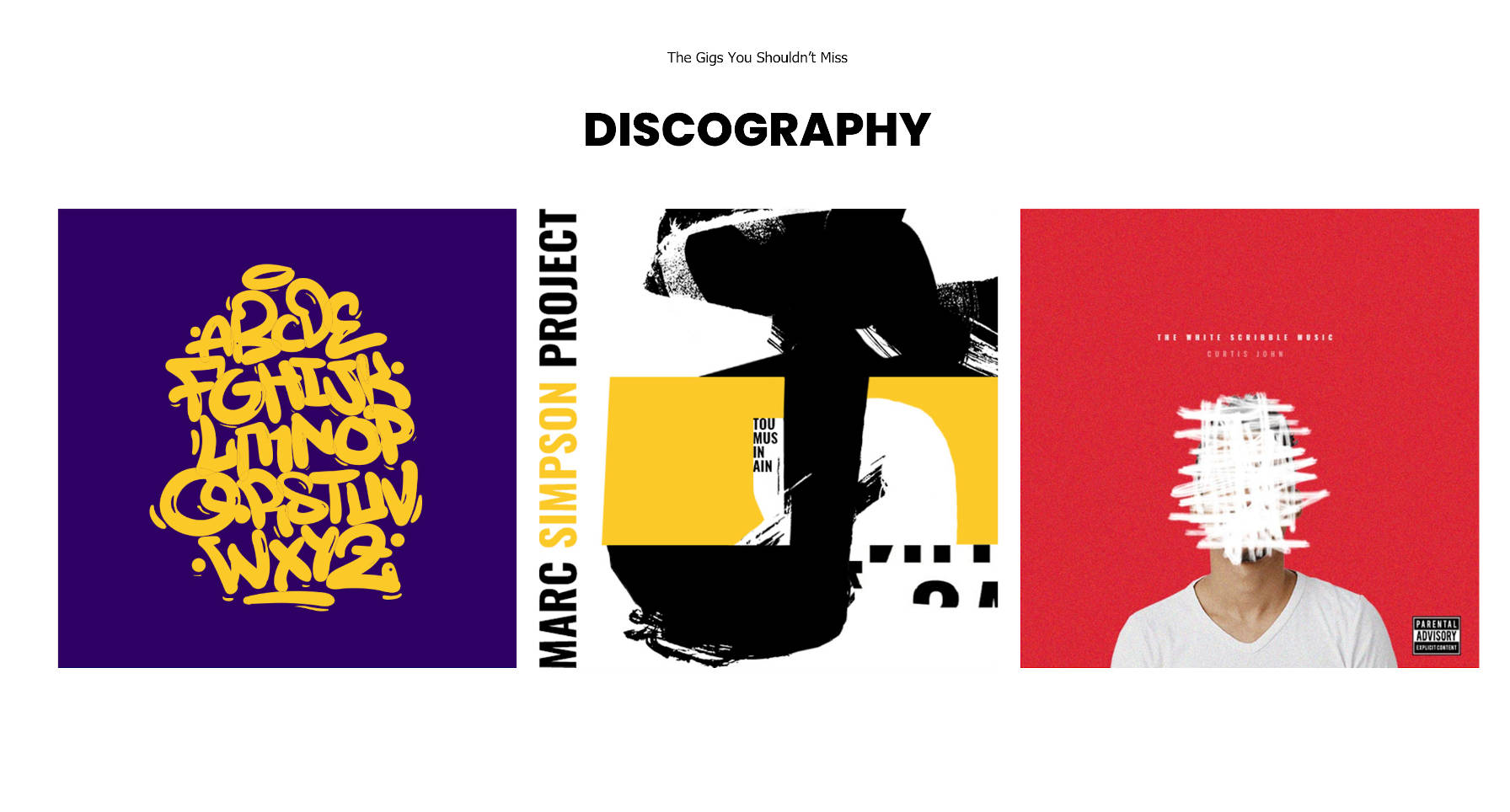 Discography section that lists an artist's albums.