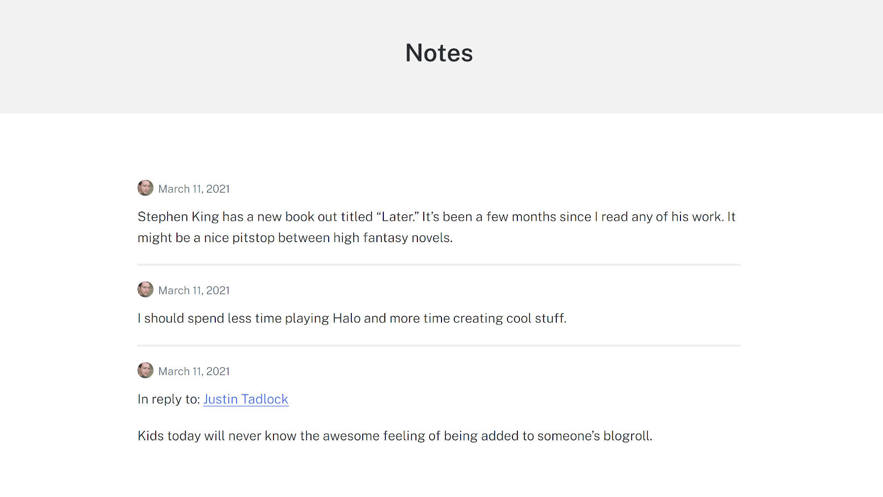 Archives view of notes from the Shortnotes plugin.