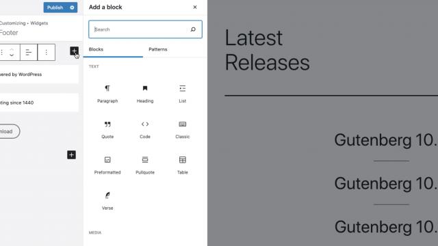 block widgets in the customizer
