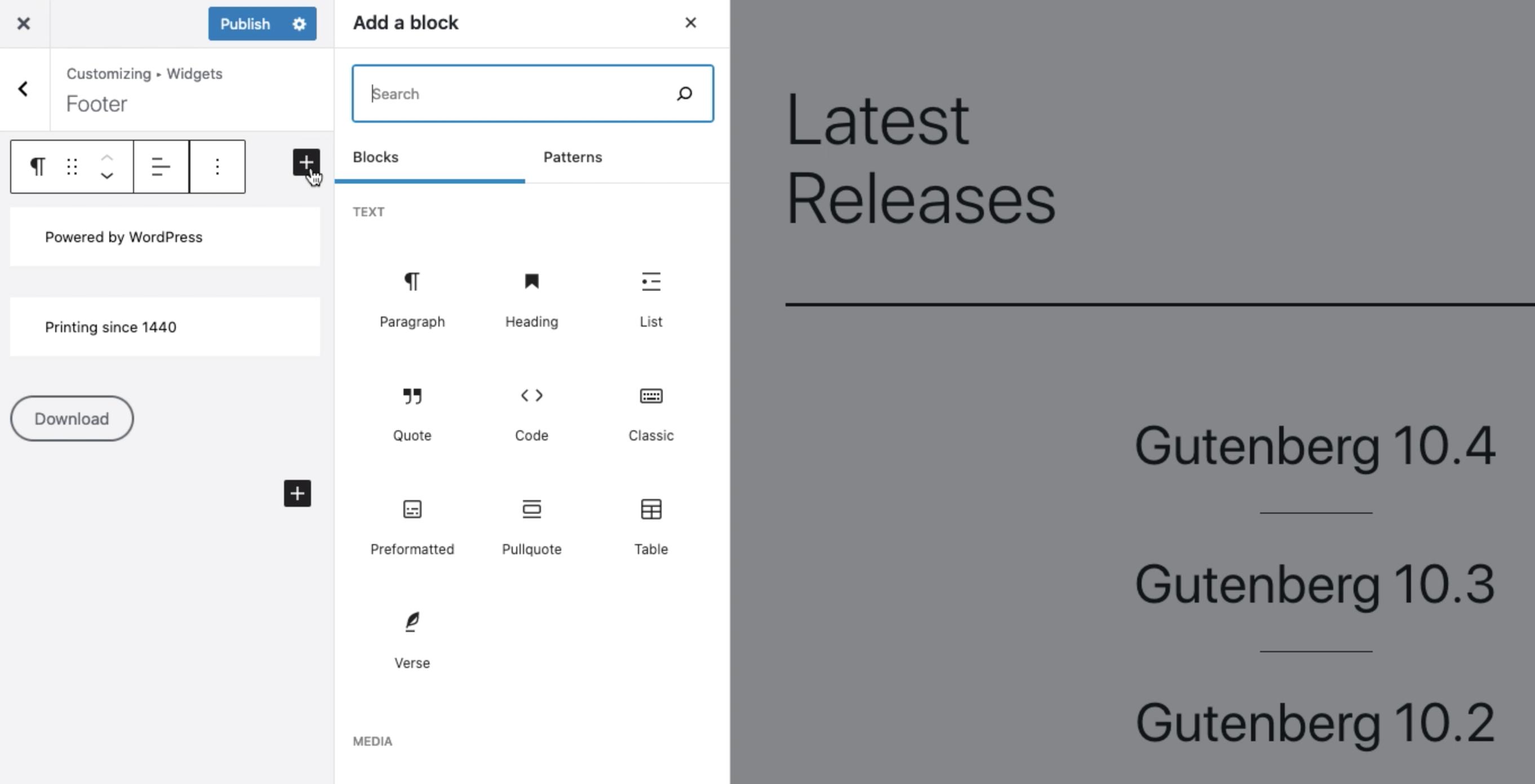Gutenberg 10.4 Introduces Block Widgets in the Customizer