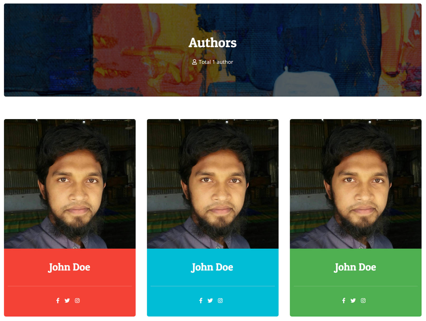A three-column grid of post author profiles.