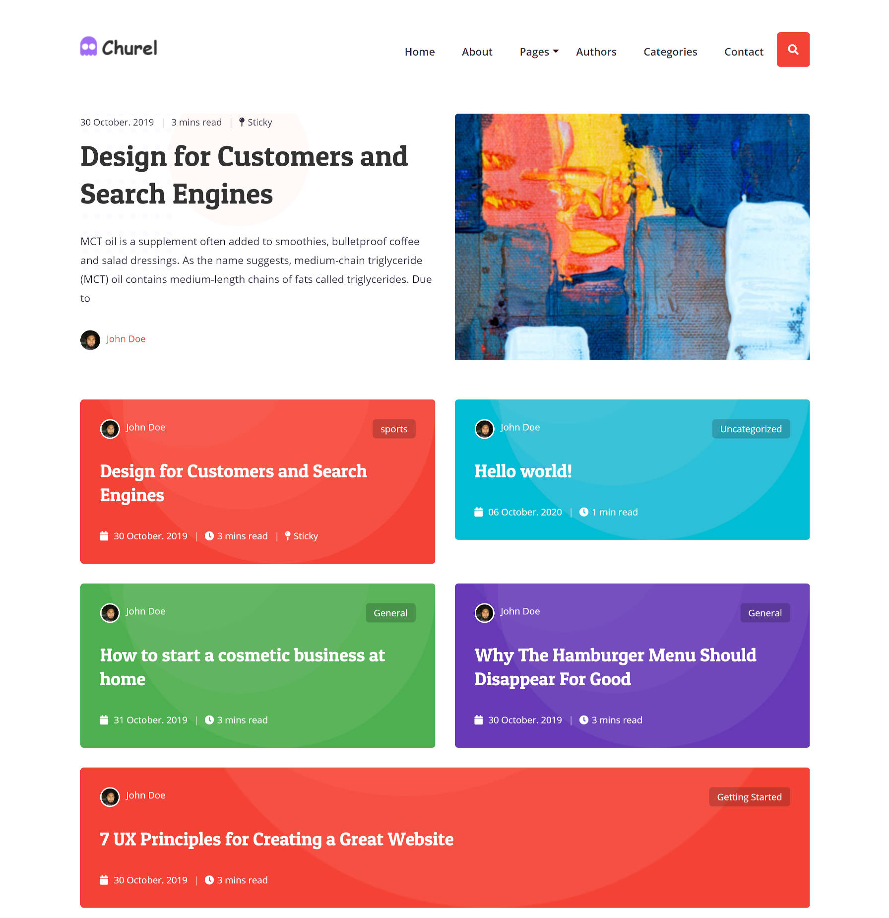 "Screenshot of the Churel WordPress theme homepage, which consists of a ""featured"" (sticky) post followed by posts in a ""card"" design."