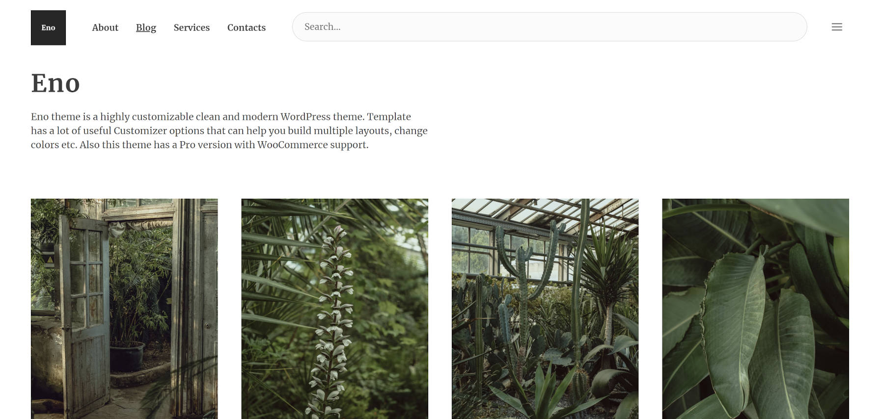 Grid-style WordPress theme blog posts page.