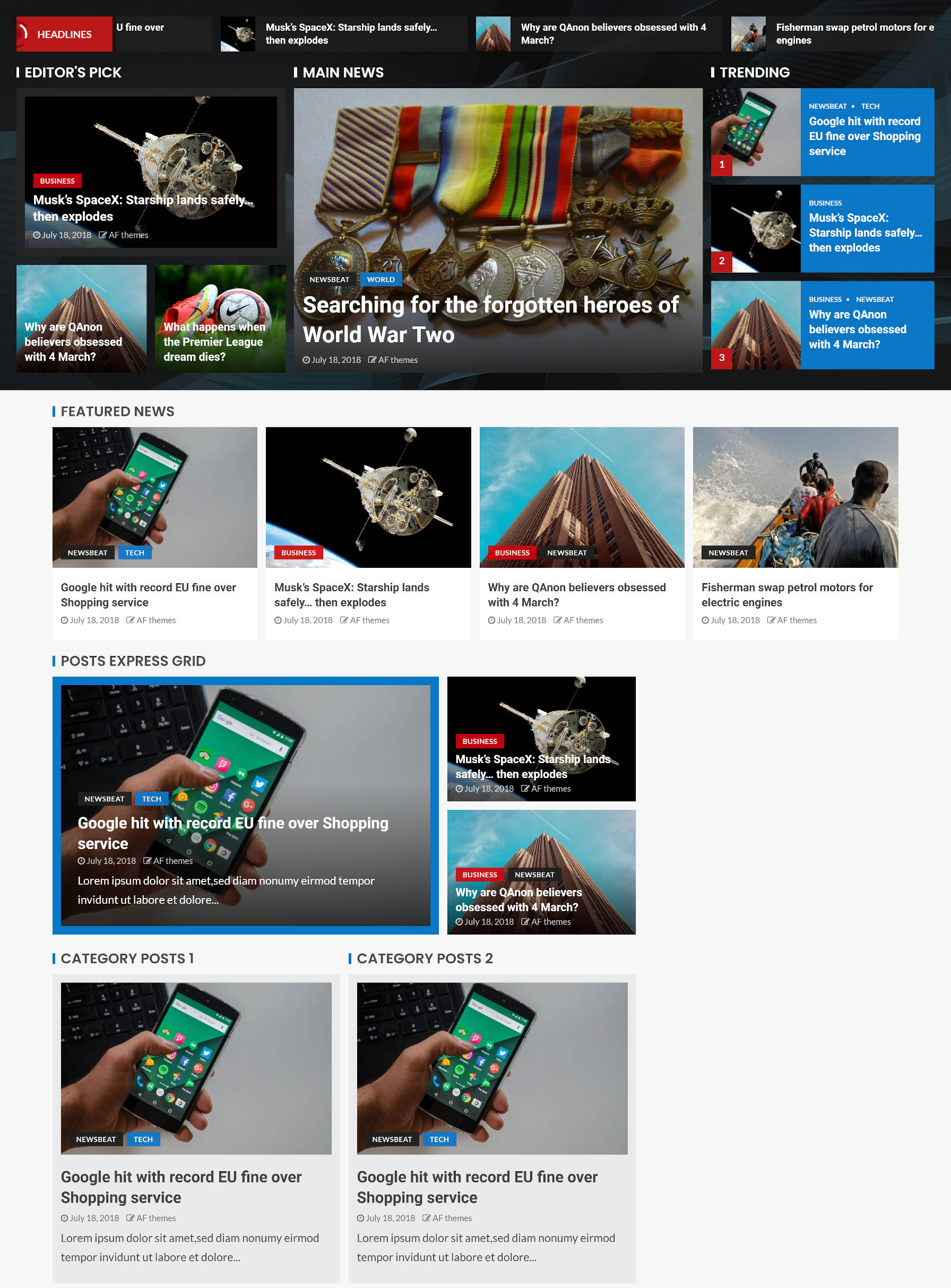 Homepage design with various post sections for a news website.