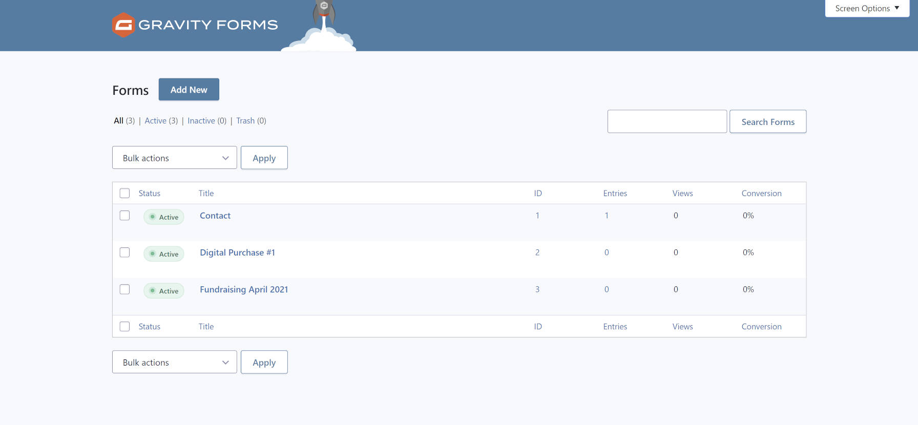 Branded forms management screen from the Gravity Forms WordPress plugin.
