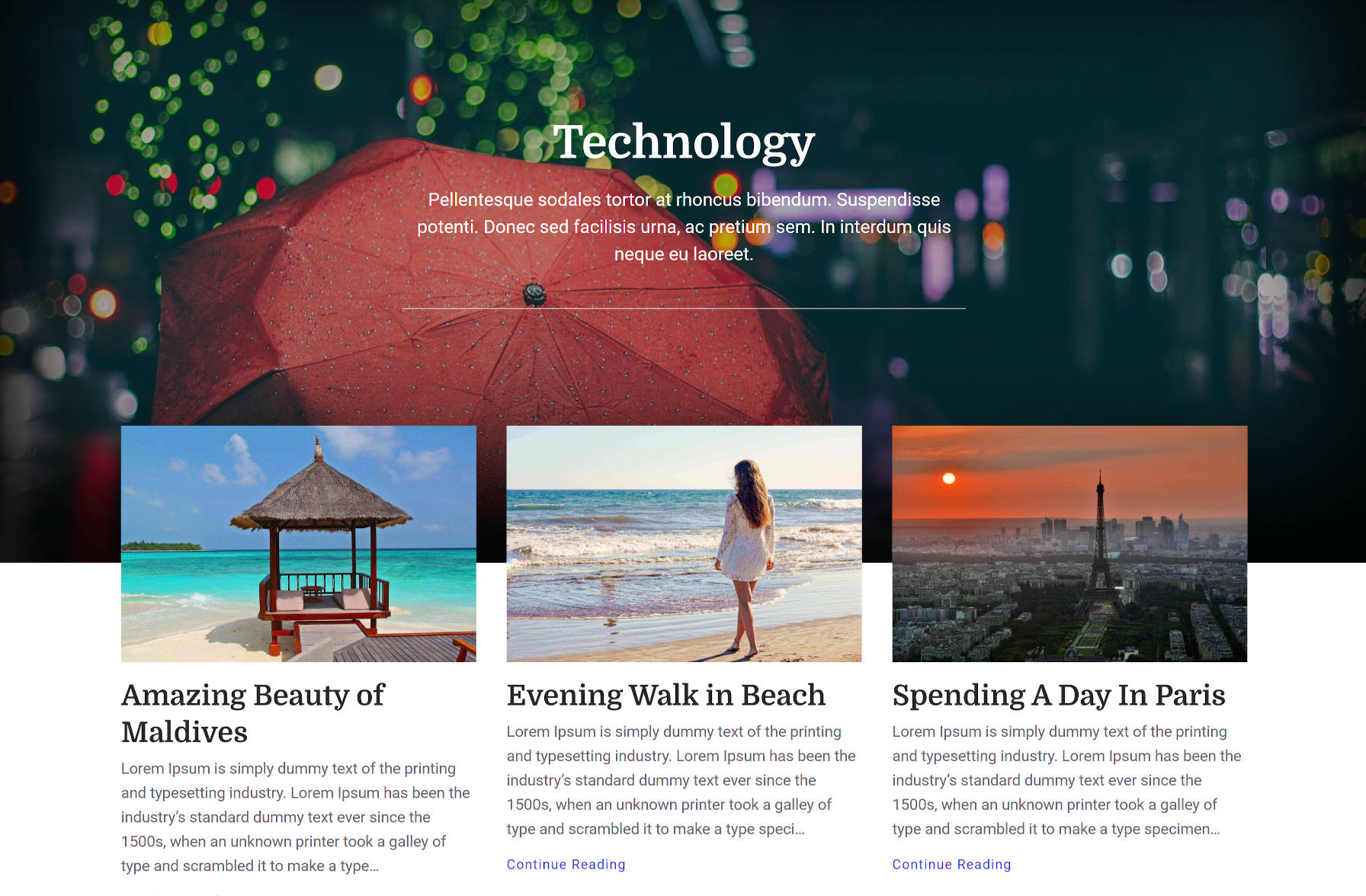 A lifestyle-type design with cover/hero area followed by grid-style posts.