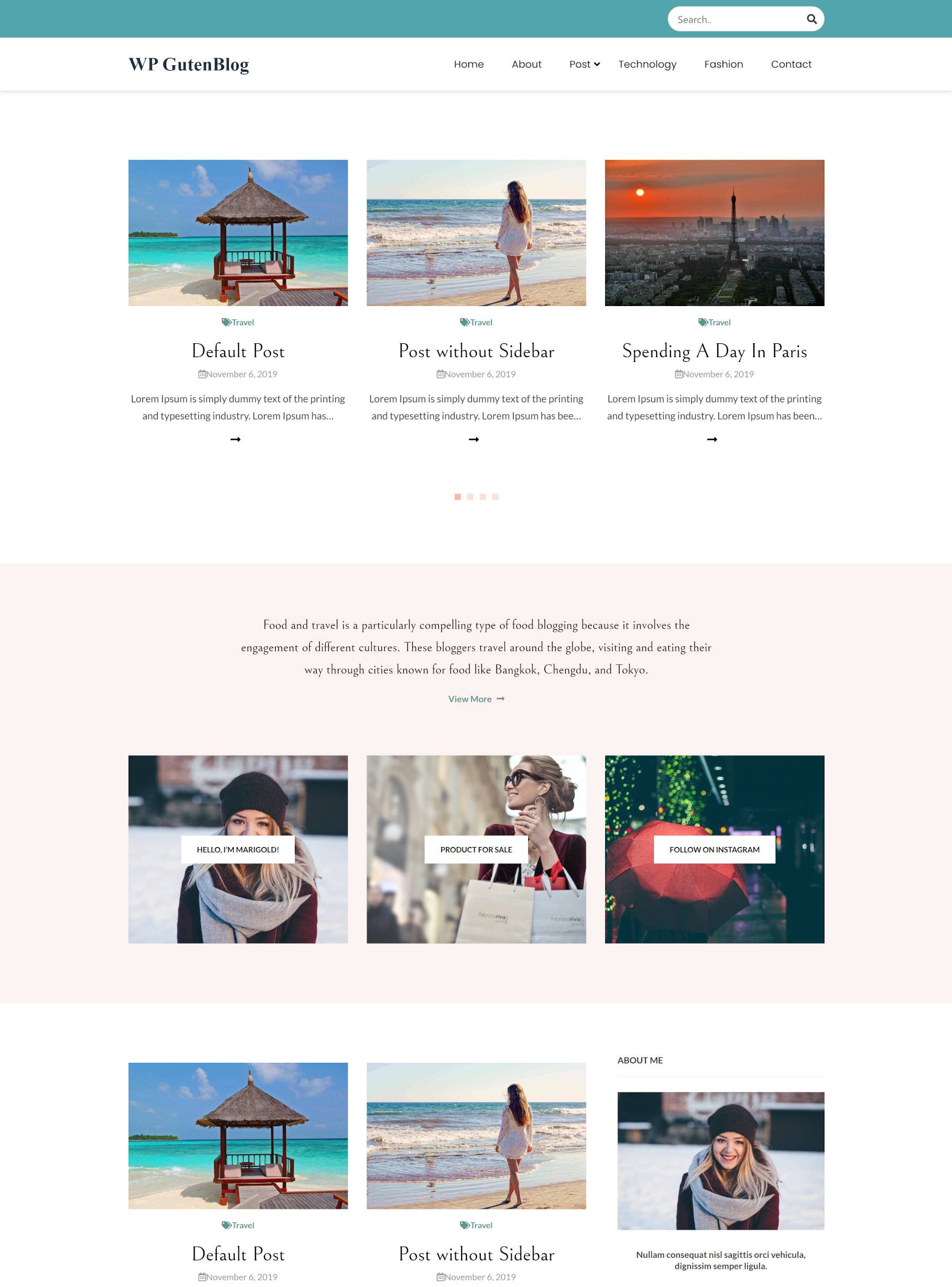 WordPress theme homepage design with carousel of posts, followed by section of boxes, followed by more posts.