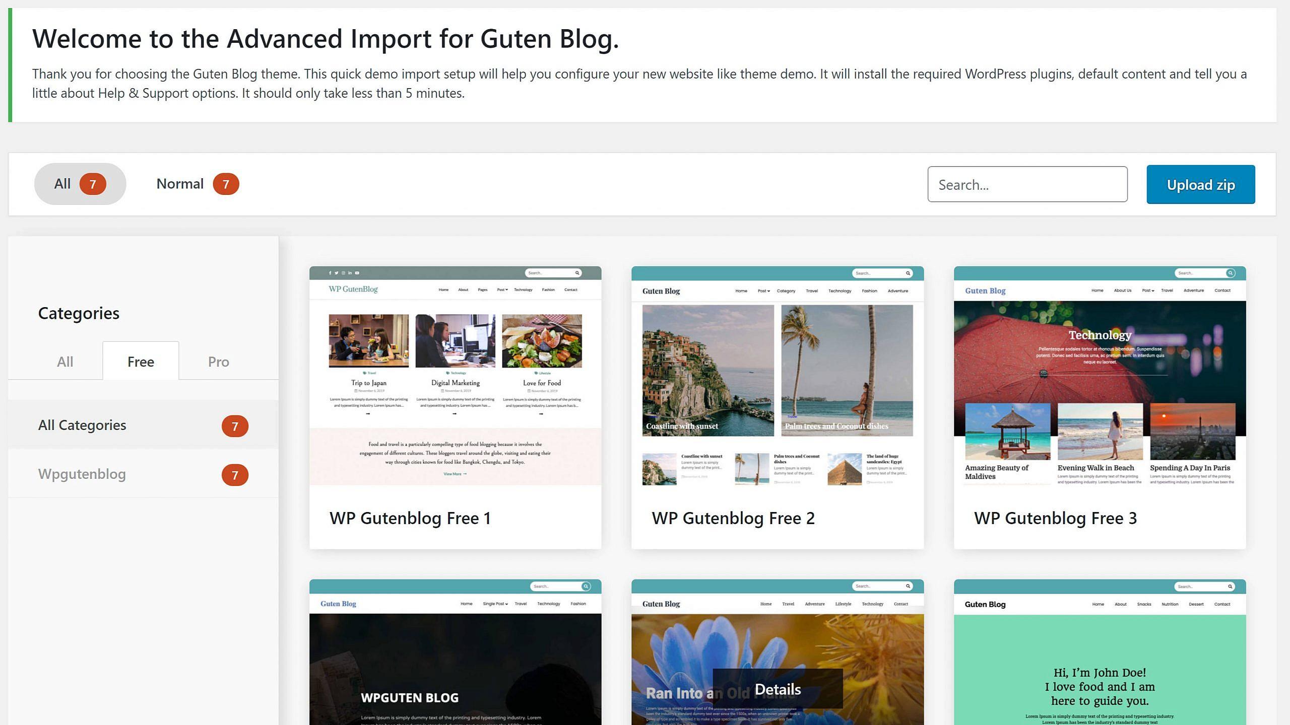 Demo import screen for the Guten Blog WordPress theme.