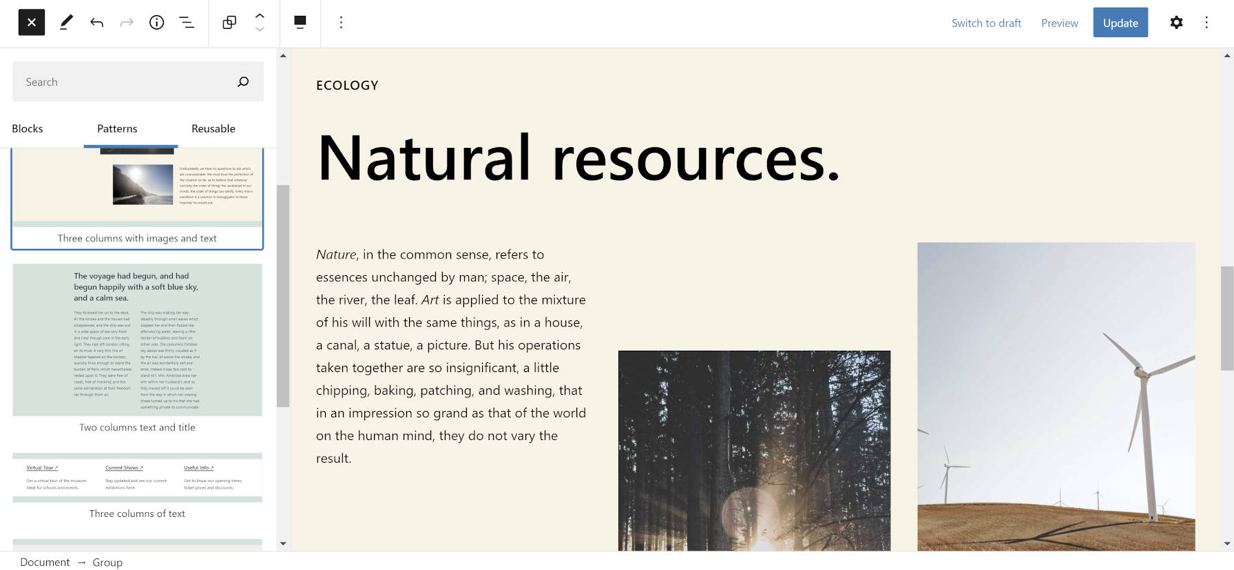 "New block patterns, showcasing a columnized ""ecology"" design."