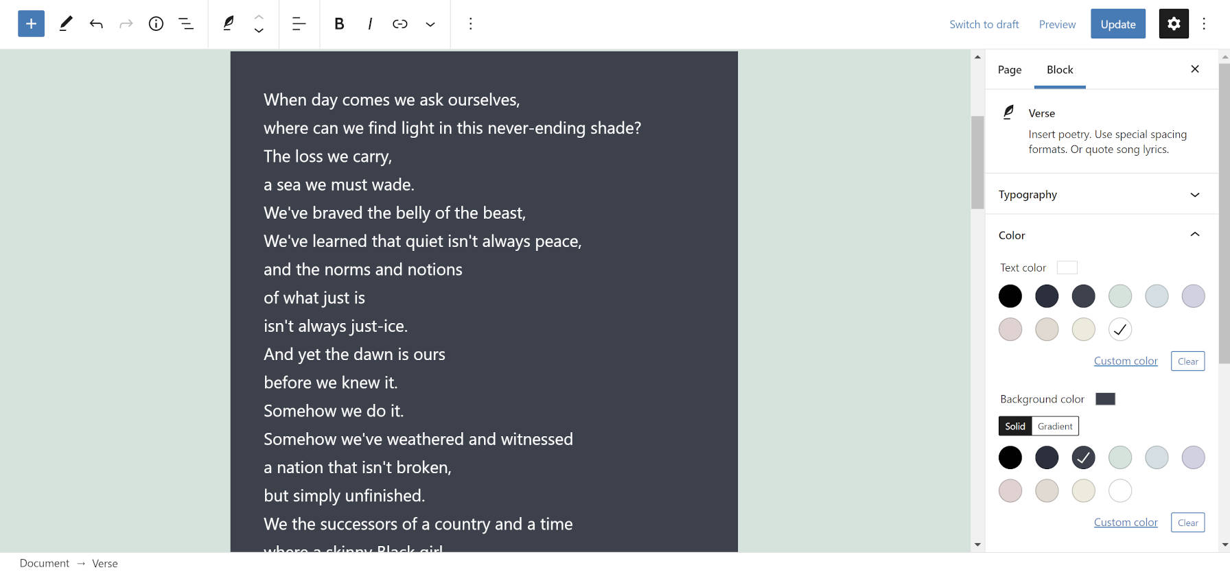 Color options for the Verse block in the WordPress editor.