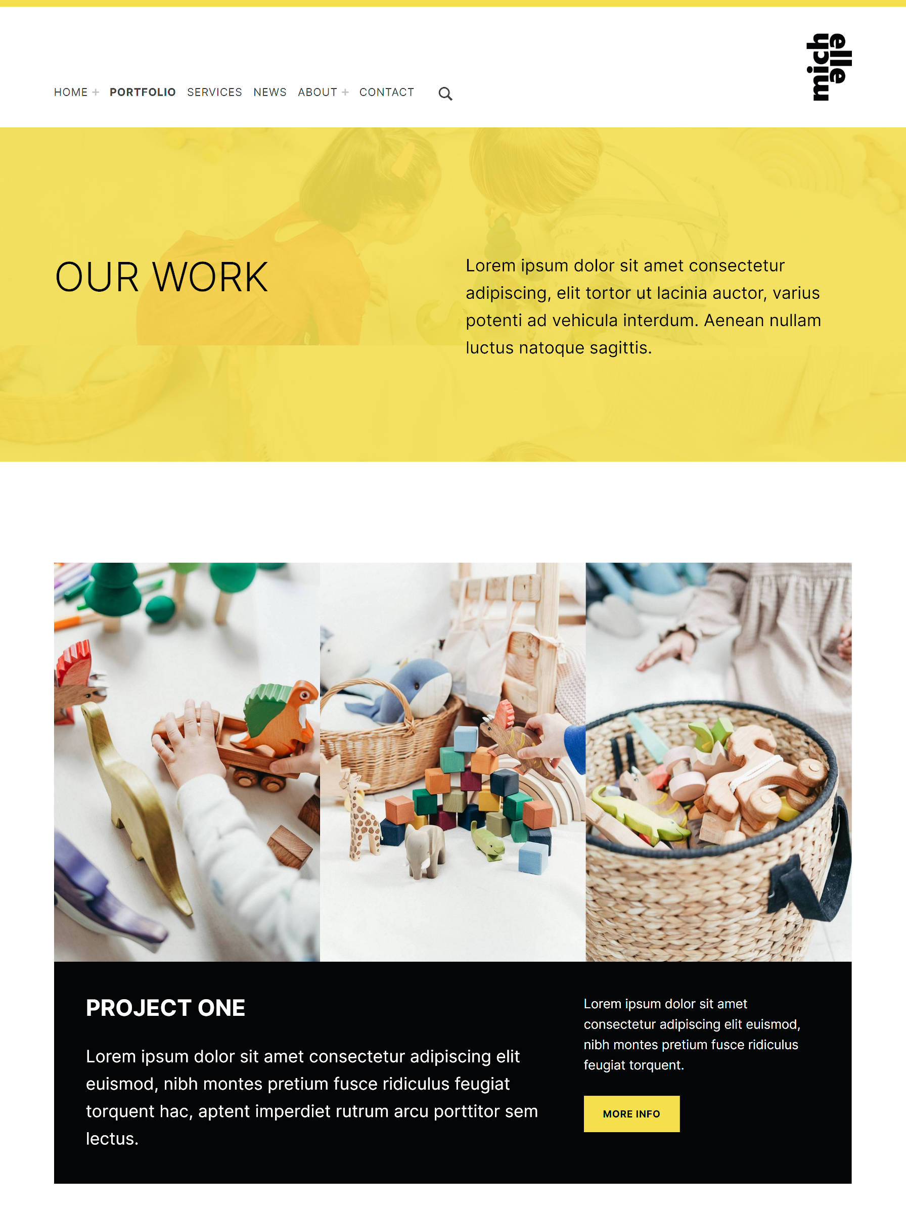 Portfolio design from the Michelle WordPress theme.