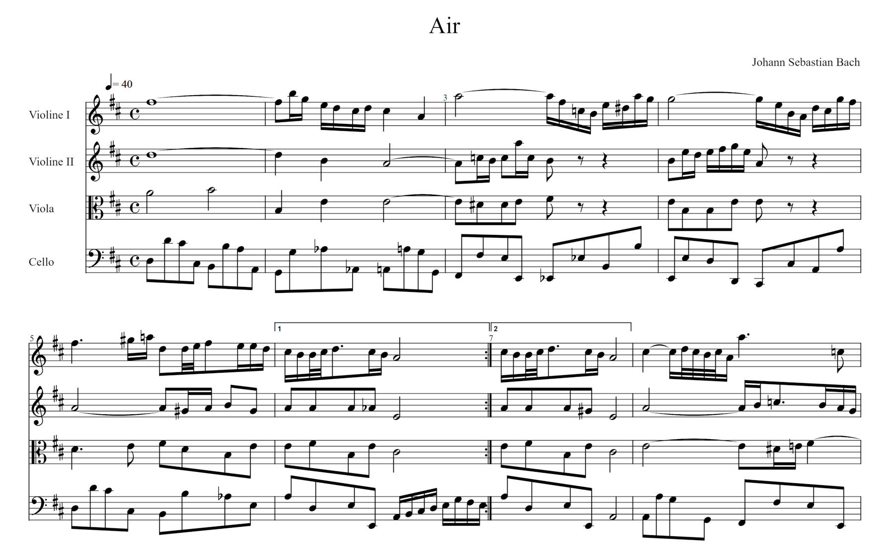 Musical notation of J.S. Bach's 'Air'.