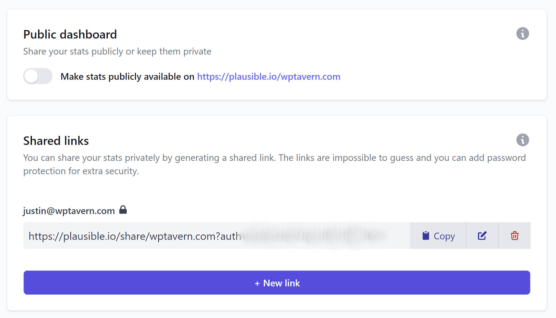 Screenshot of the visibility screen on the Plausible Analytics website with a focus on creating a shared link.