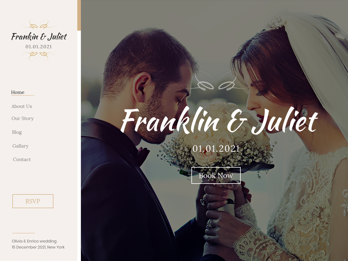 Screenshot of the Classic Wedding WordPress theme.
