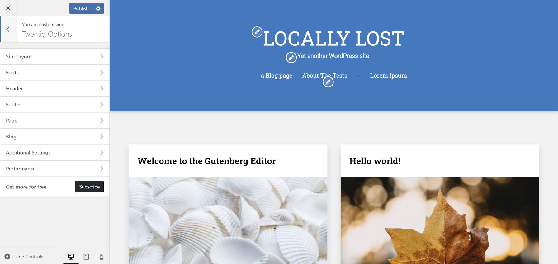 Customizing the Twenty Twenty-One blog page via the Twentig plugin's customizer settings.