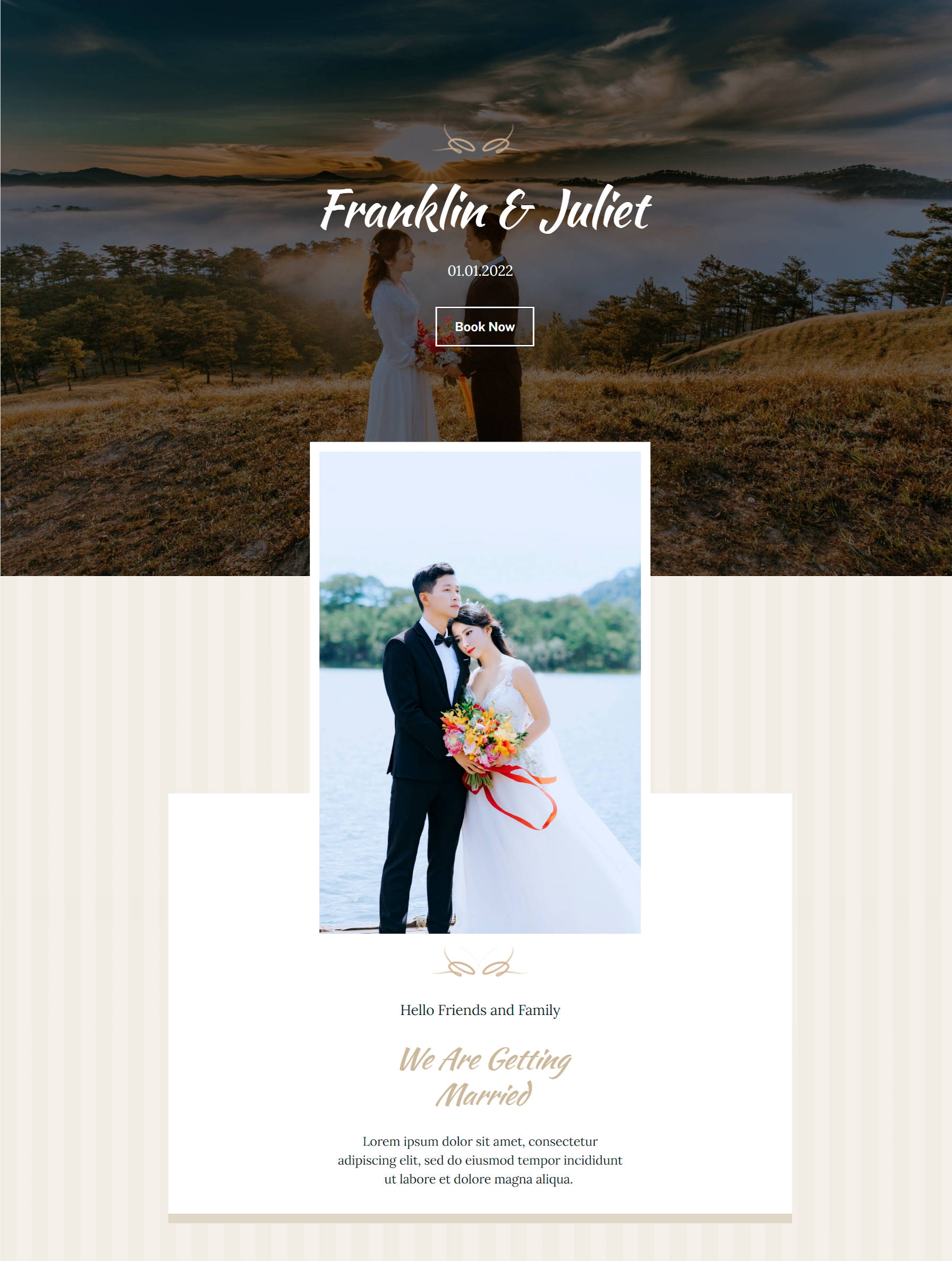 Content area of a wedding homepage design with a hero header, overlapping image, and text.