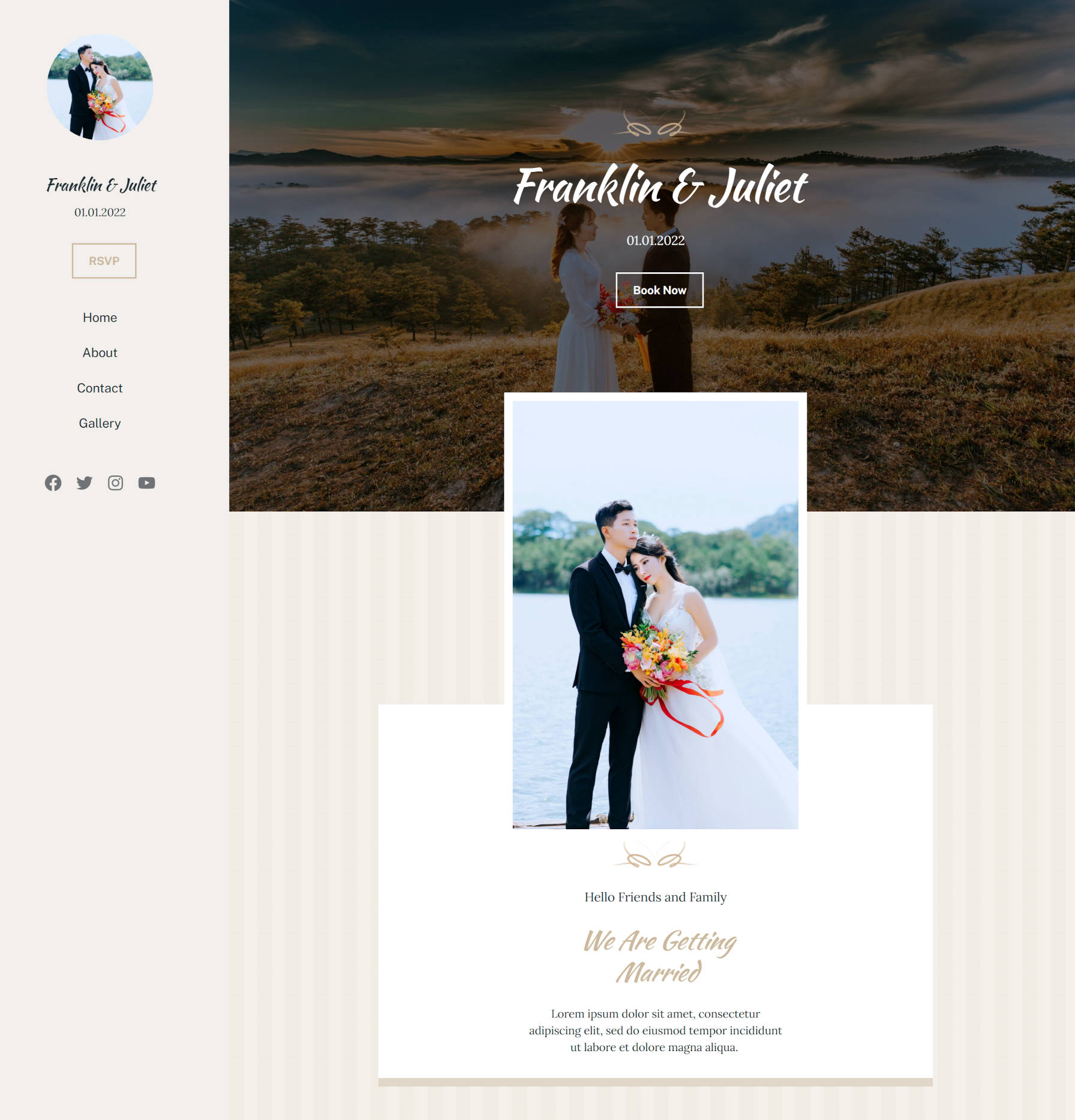 Full wedding page design with sidebar and wedding photos/content on the right.