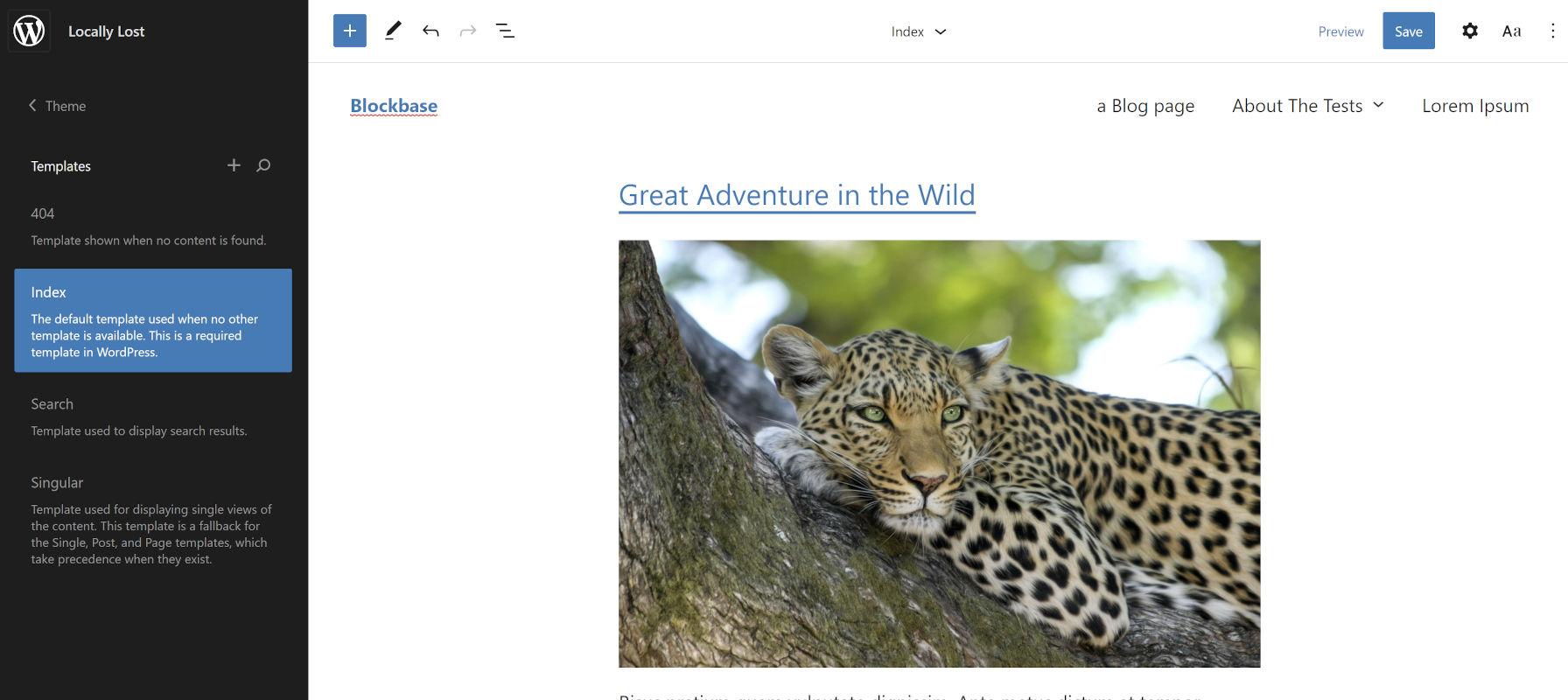 Visualizzazione del tema WordPress iniziale di Blockbase nell'editor del sito in arrivo.