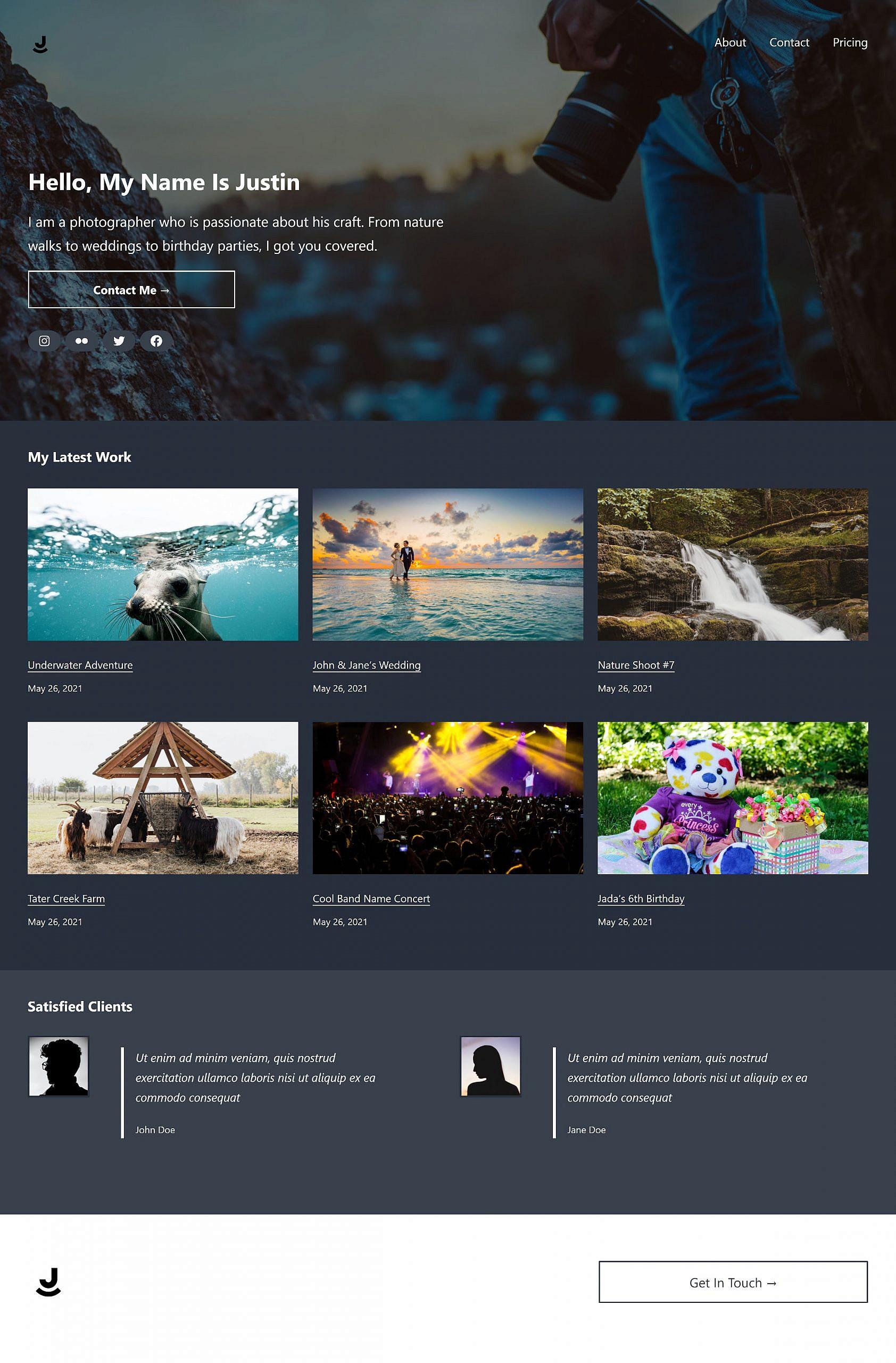 Esempio di pagina del portfolio con intestazione di copertina, sezione progetti, testimonianze e piè di pagina.