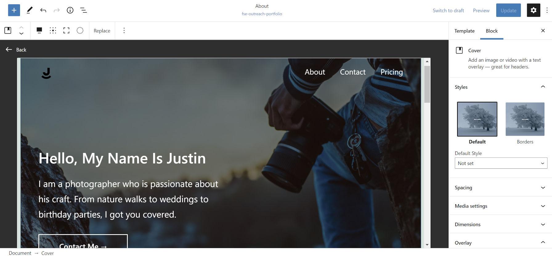 Aggiunta di un blocco Cover nell'editor dei modelli di WordPress con colonne interne.