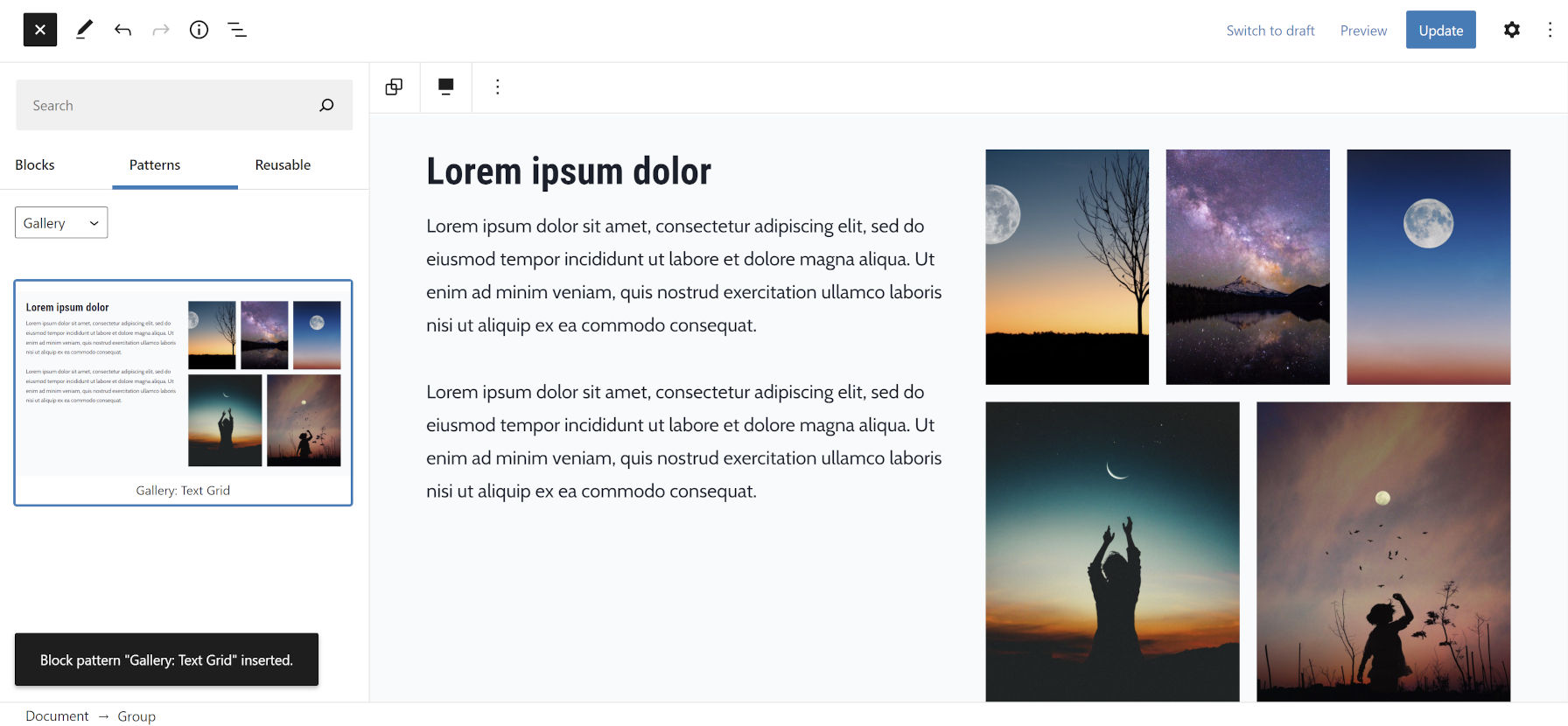 WordPress editor with the block patterns panel open.