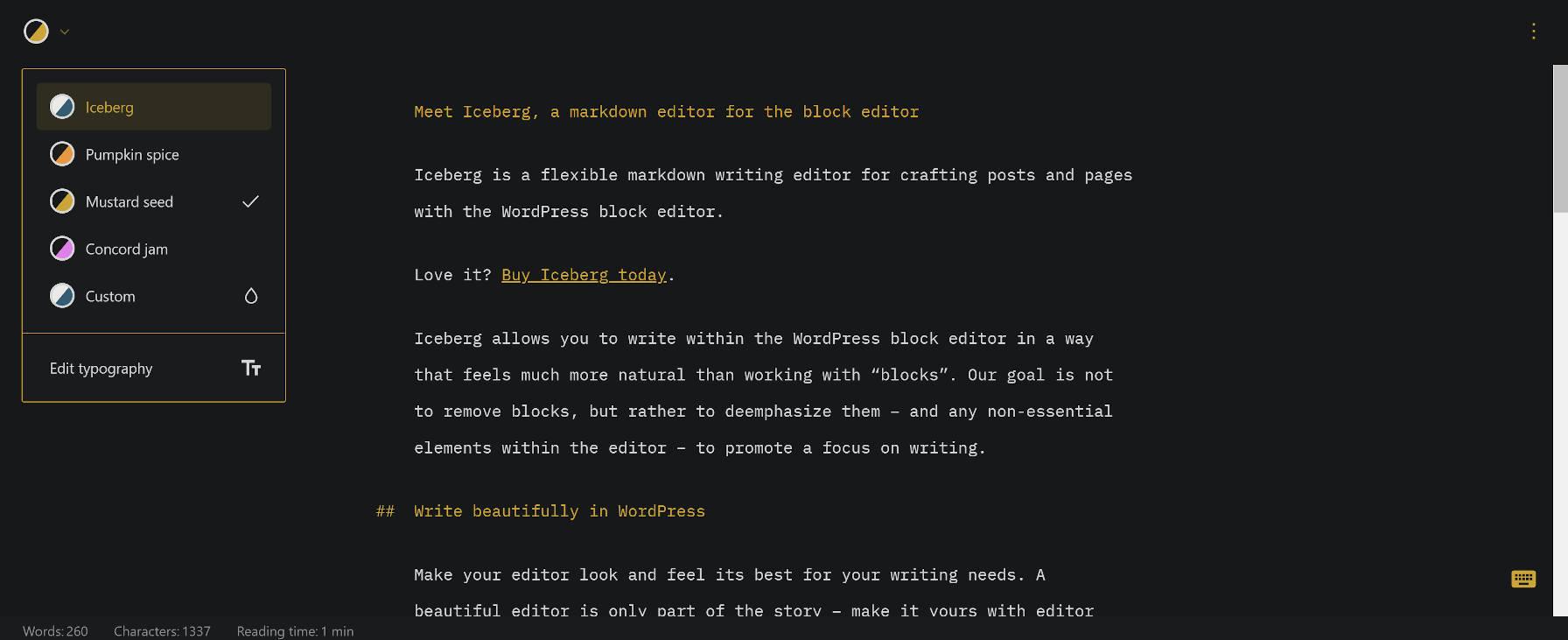 Iceberg Editor plugin, showcasing its Markdown editing features.