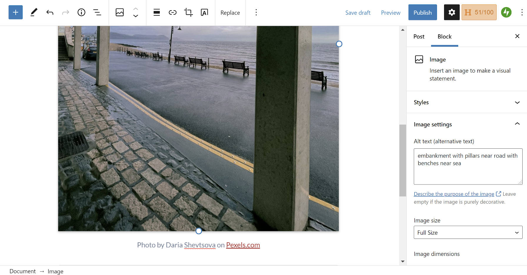 Screenshot of inserting an image via Jetpack's Pexels integration with pre-filled photo credits and alt text.