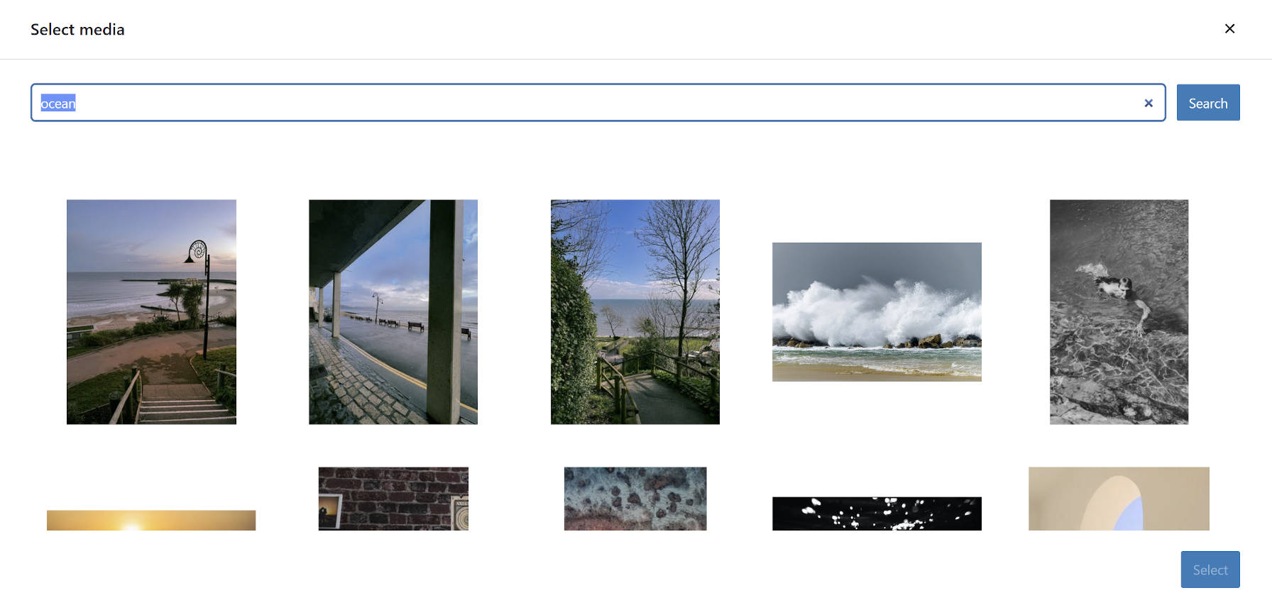 Media library view of Pexels photo search via the Jetpack plugin.