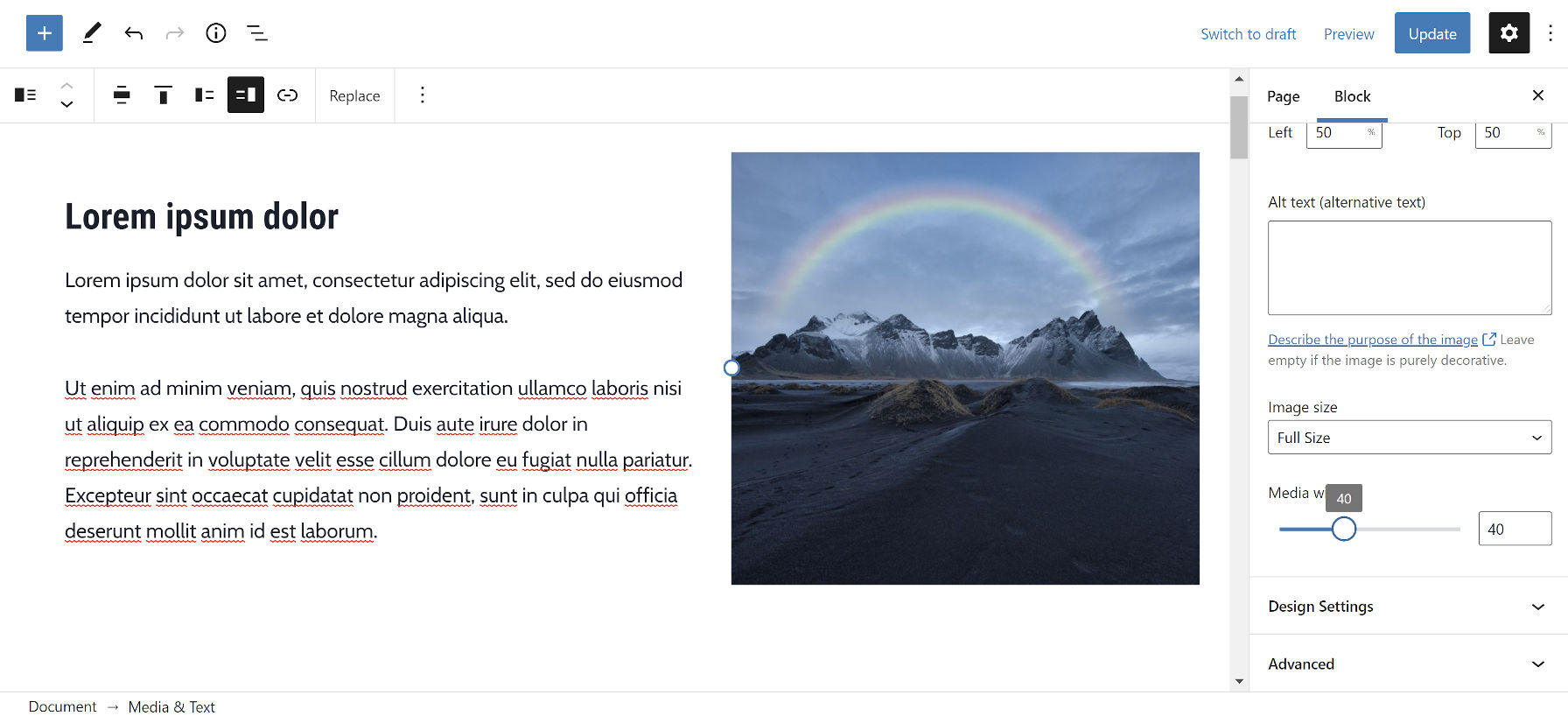 In the WordPress editor, adjusting the media width for the Media & Text block.