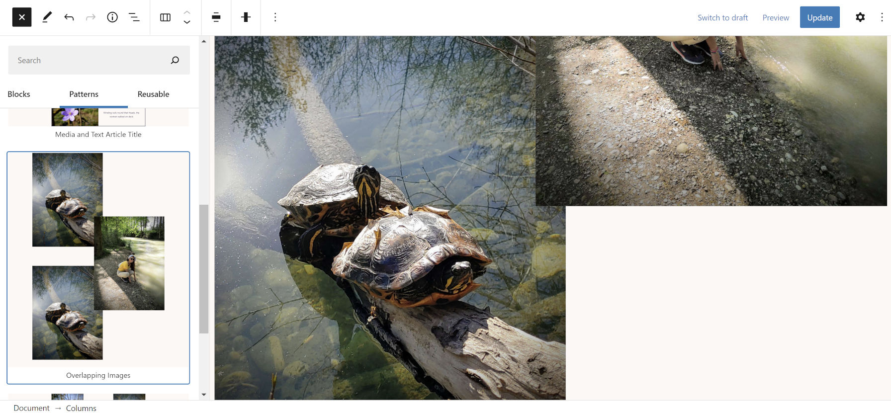 Overlapping images within columns shown in the WordPress block editor.