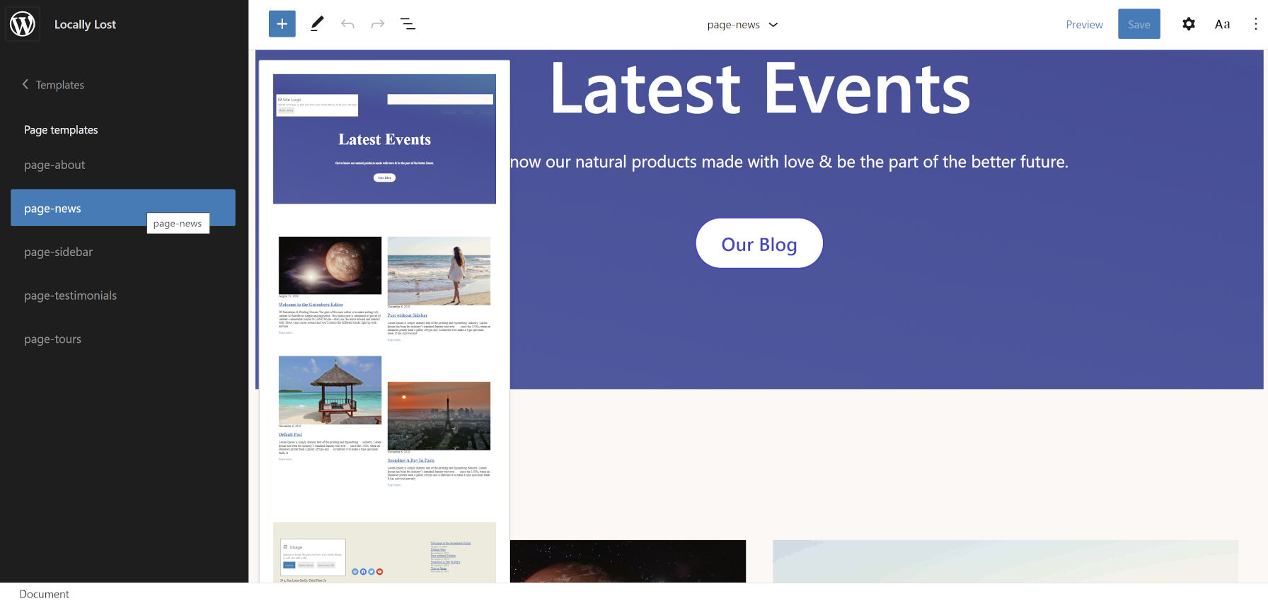 Editing the News template in the WordPress site editor from the Naledi theme.