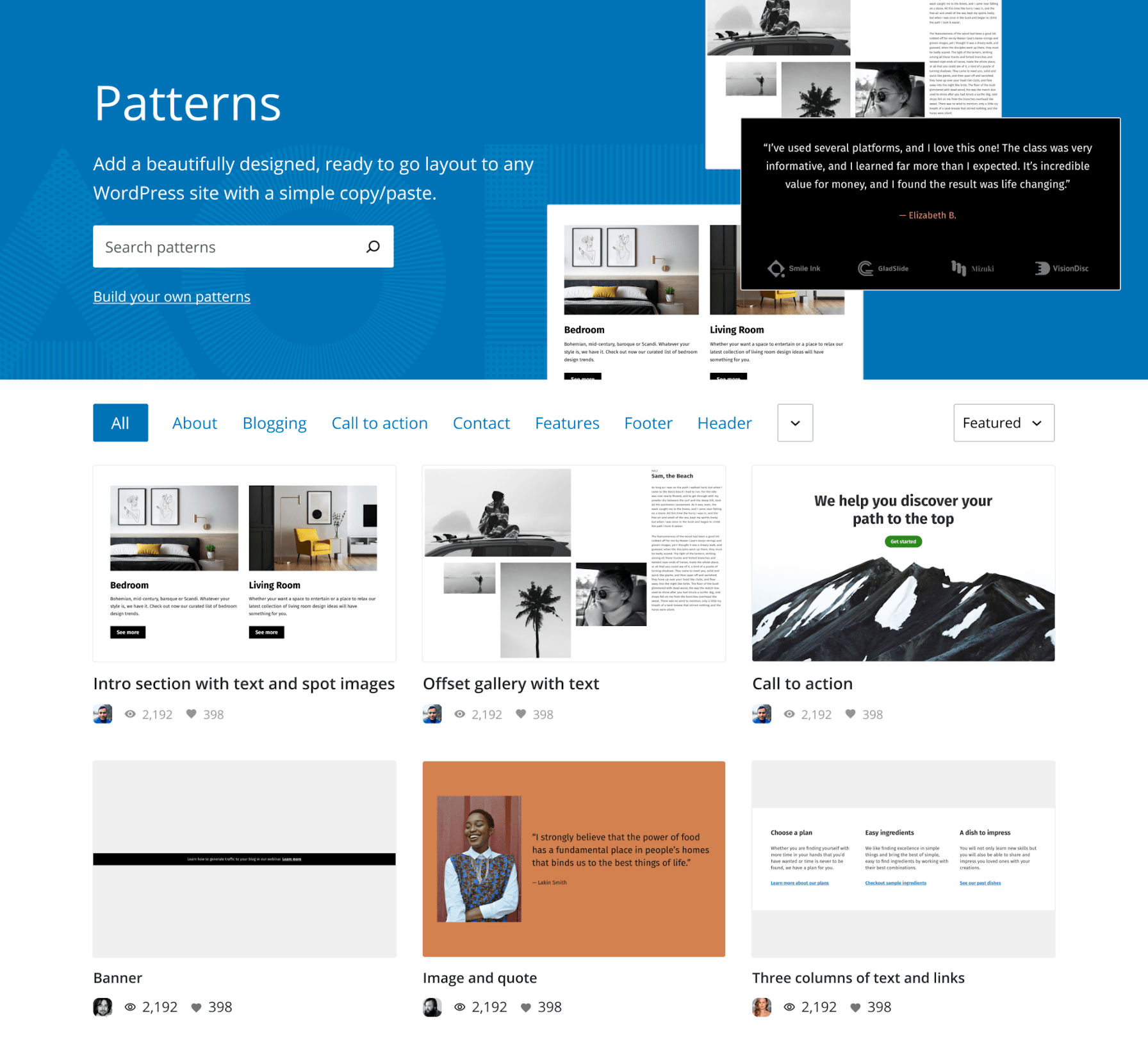 Pattern directory with large hero header and a grid of patterns.