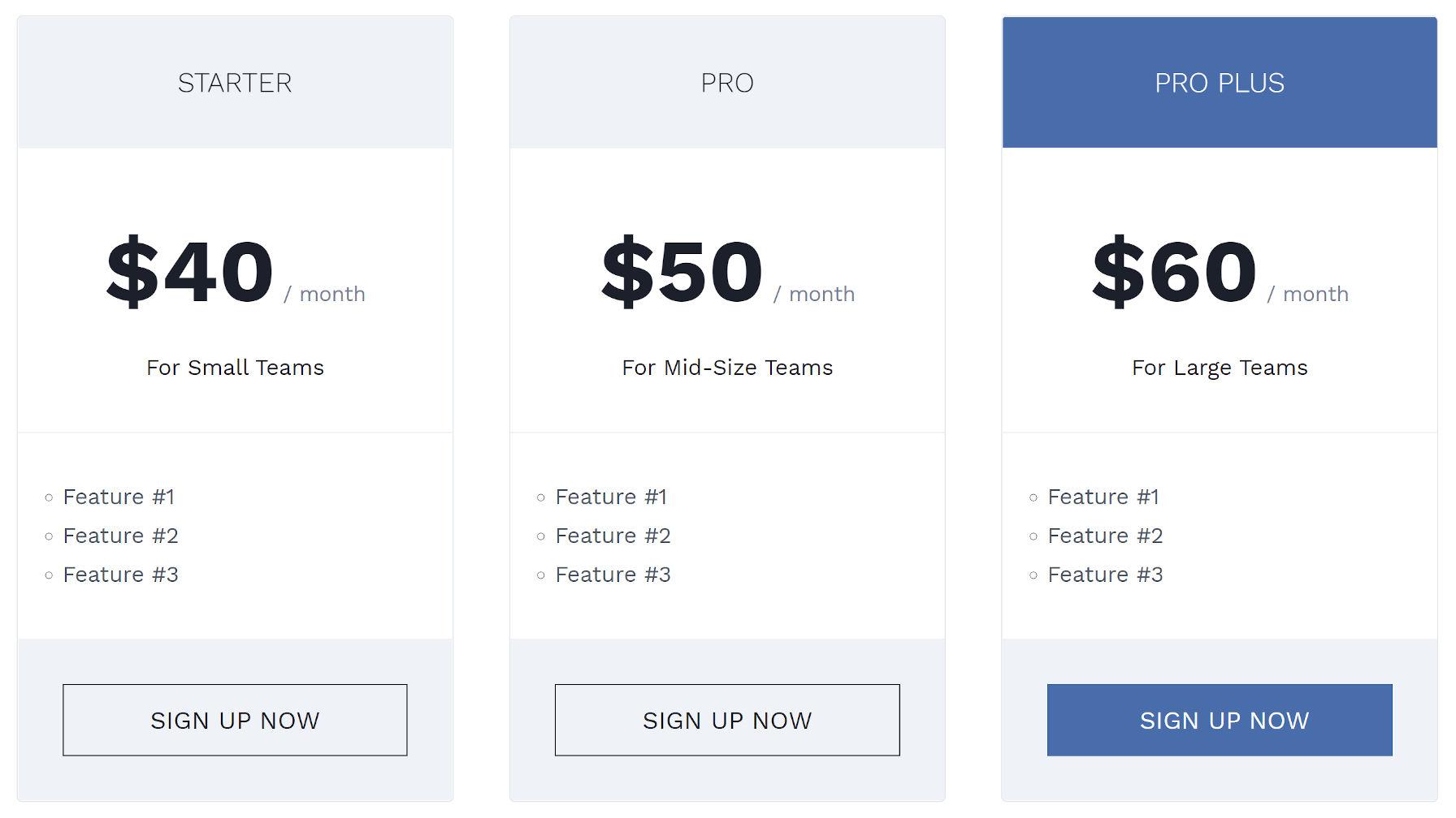 Colonne dei prezzi personalizzate con un tema WordPress personalizzato e la modifica dell'intero sito.