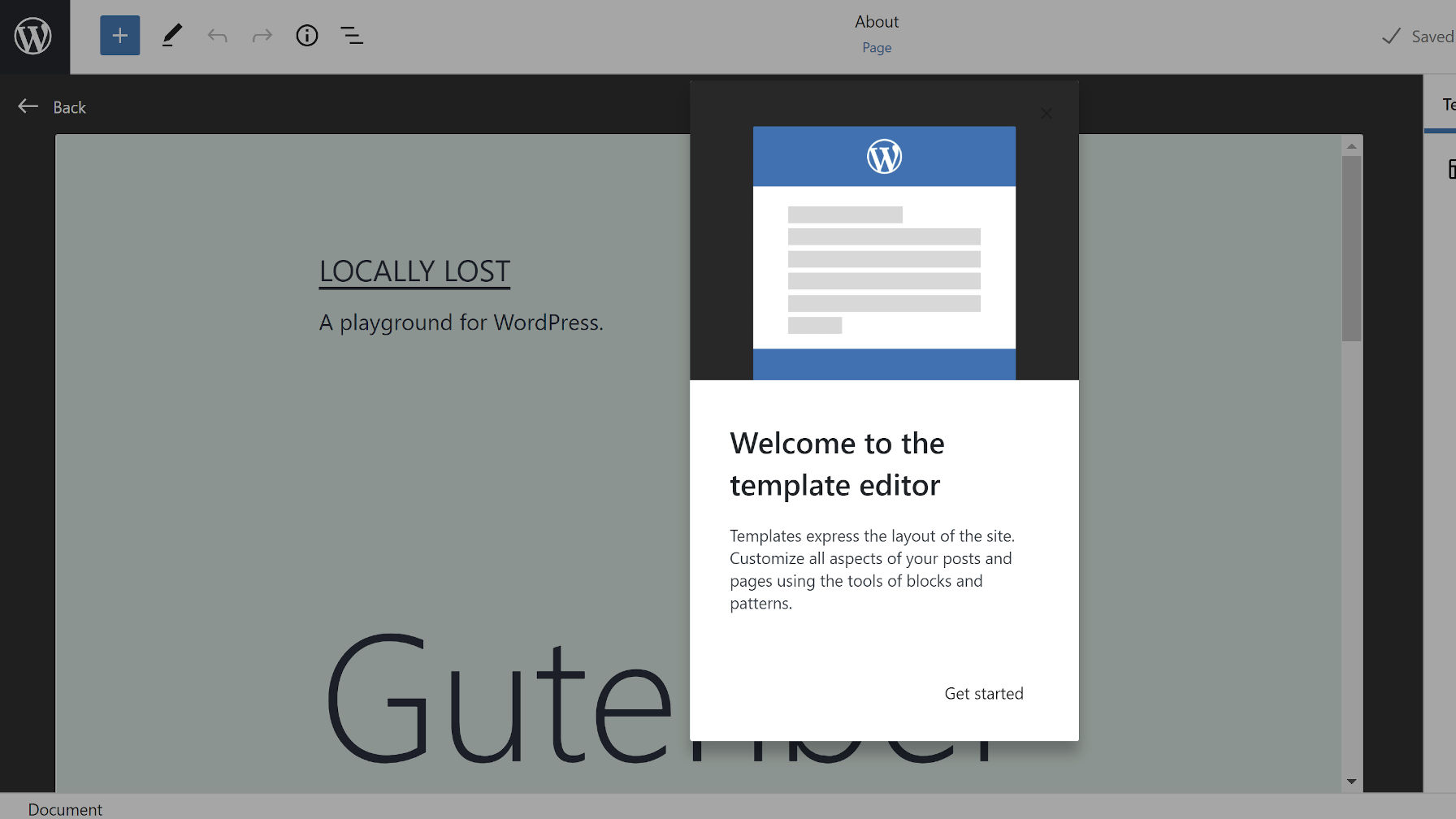 Overlaid welcome message to the new template editor feature.