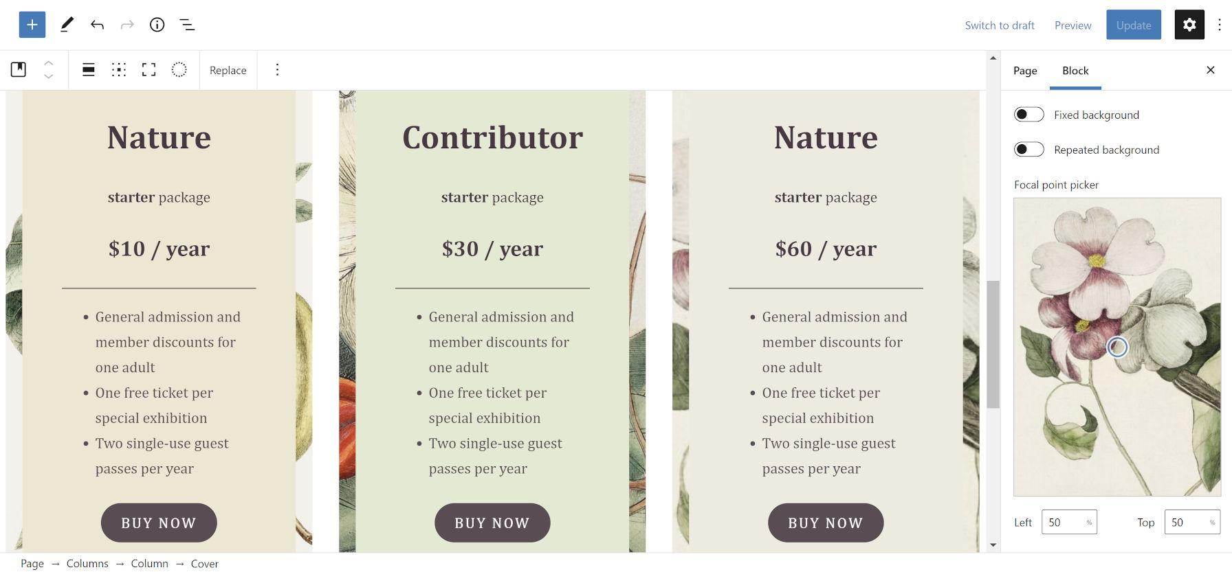 Le colonne dei prezzi a tema natura si bloccano dal tema Clove WordPress.