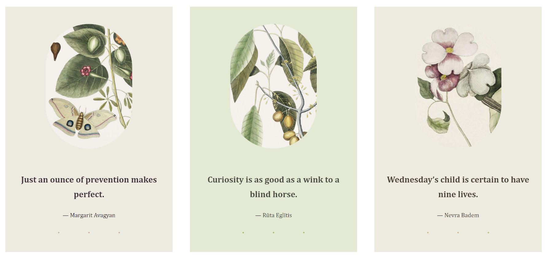 Tre colonne di immagini più citazioni, un modello dal tema Clove WordPress.