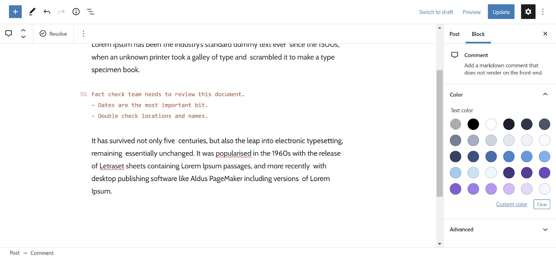 Adding inline comments to the WordPress post editor via the Markdown Comments Block plugin.