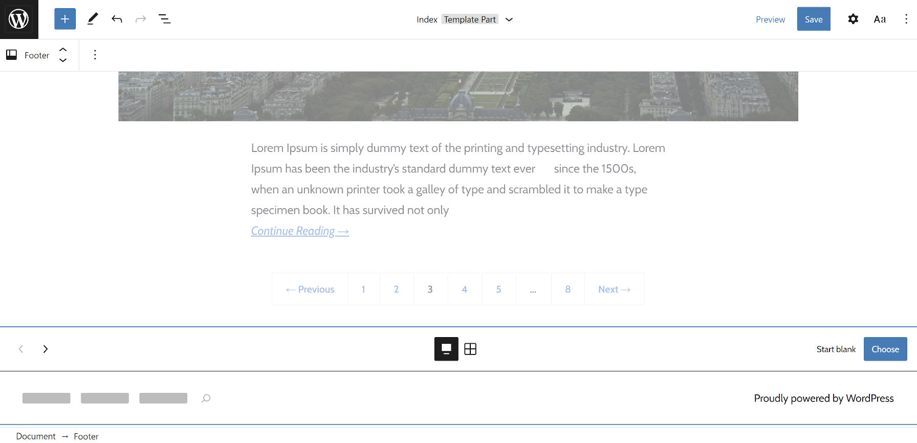Site editor with the footer pattern carousel open.