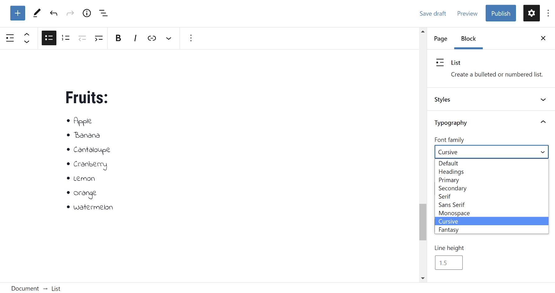 Personalizzazione del blocco Elenco nell'editor di WordPress con una famiglia di caratteri personalizzata.