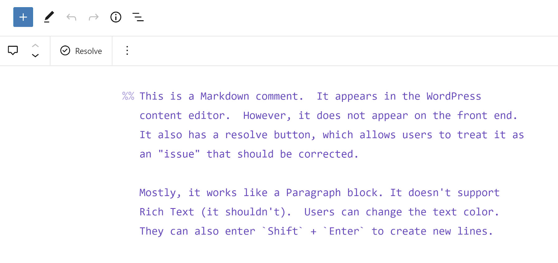 Customized output of the Markdown Comment Block.