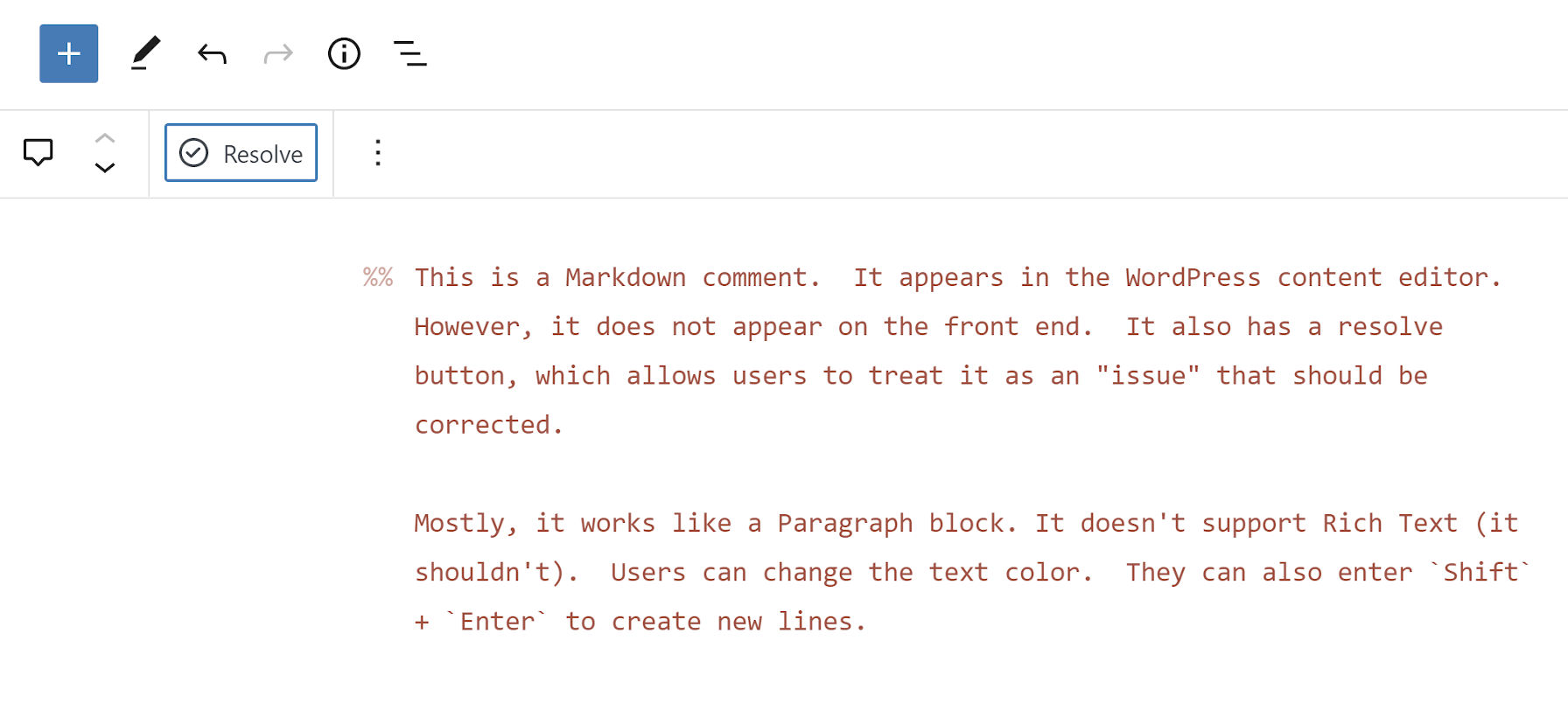 Clicking the Resolve button for the Markdown Comment block to delete a comment.