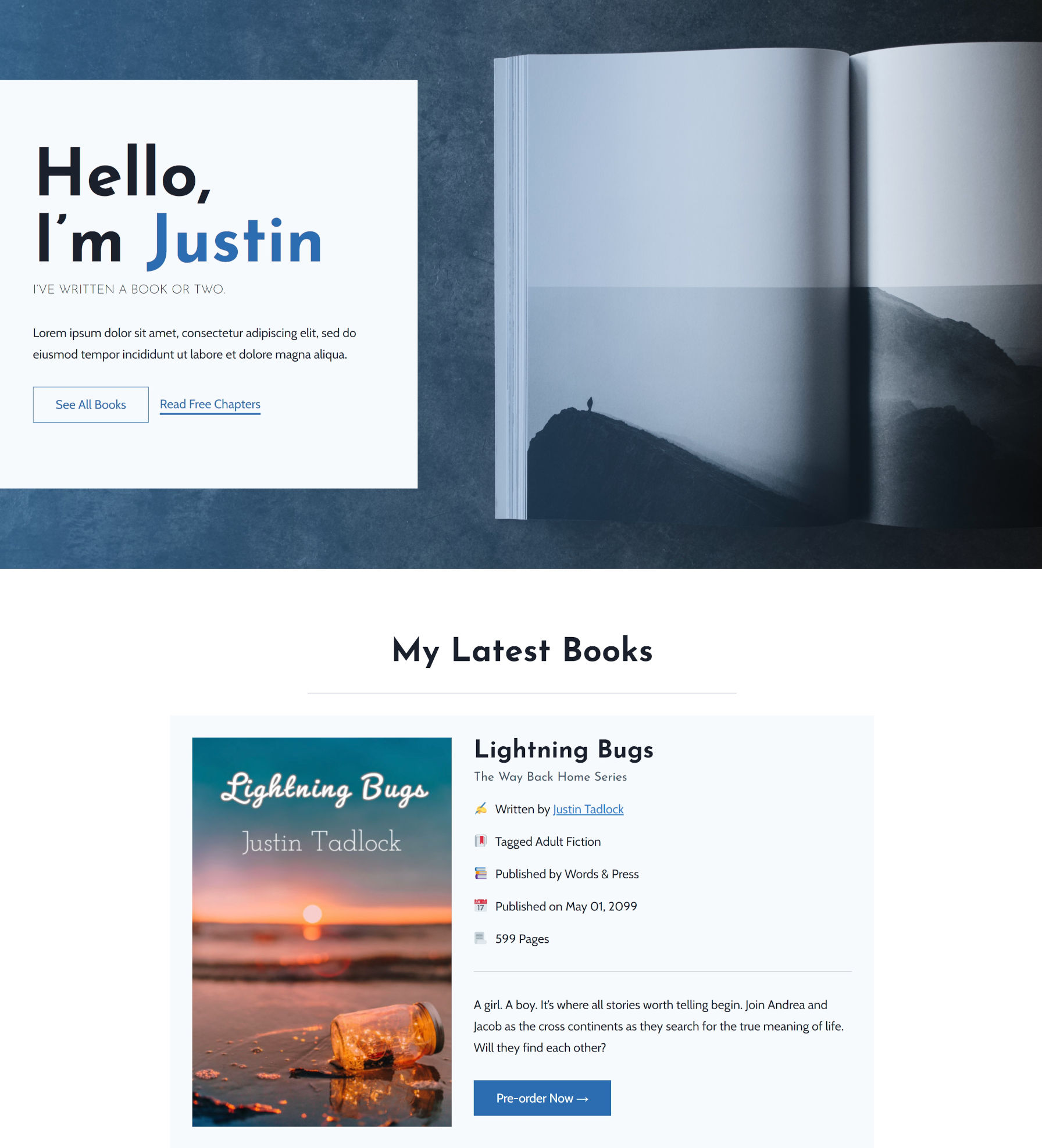 Landing page for a novelist with featured hero section and latest books section.