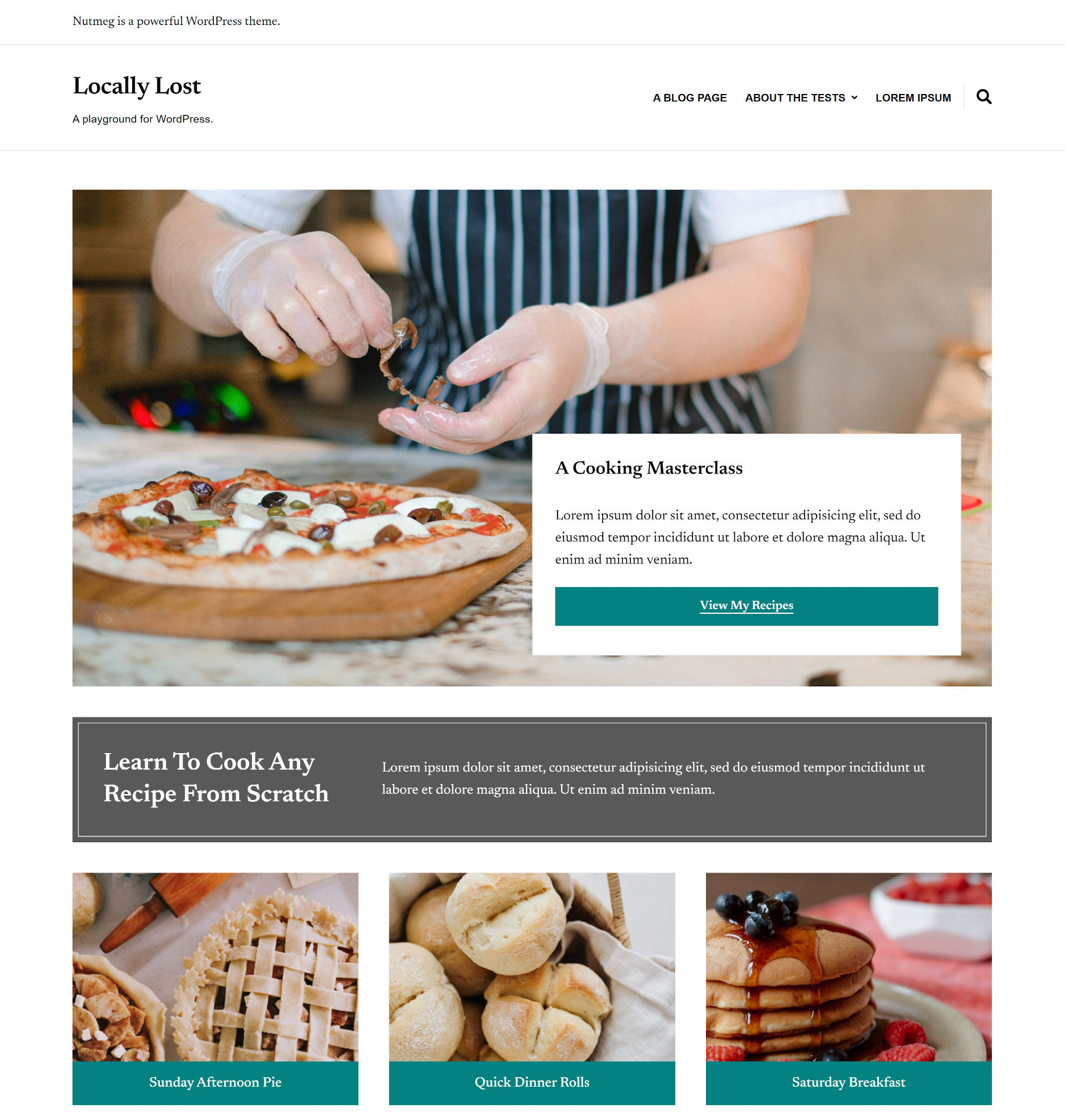 Screenshot of a recipe blog homepage built with Nutmeg's block patterns.