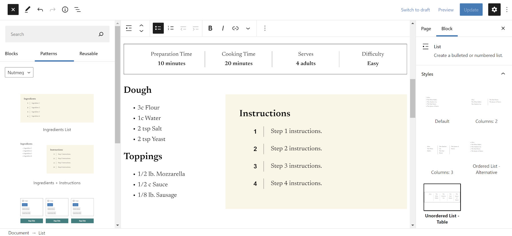 Adding patterns for instructions and ingredients in the WordPress editor.