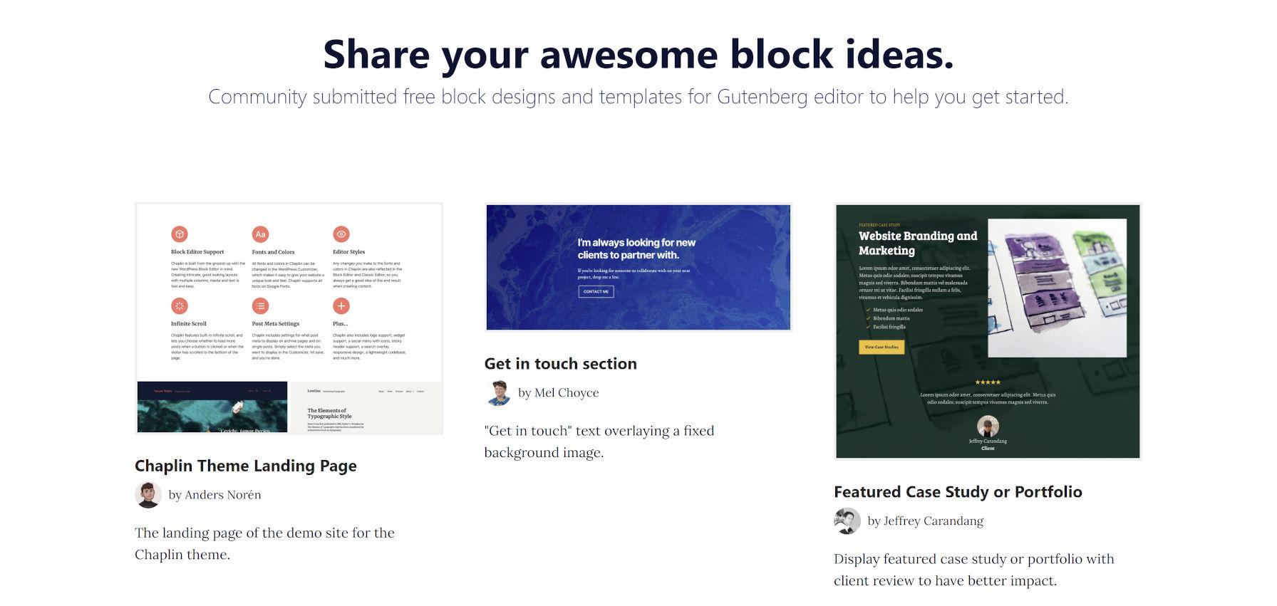 Screenshot della homepage del sito ShareABlock. È dotato di modelli di blocchi scaricabili.