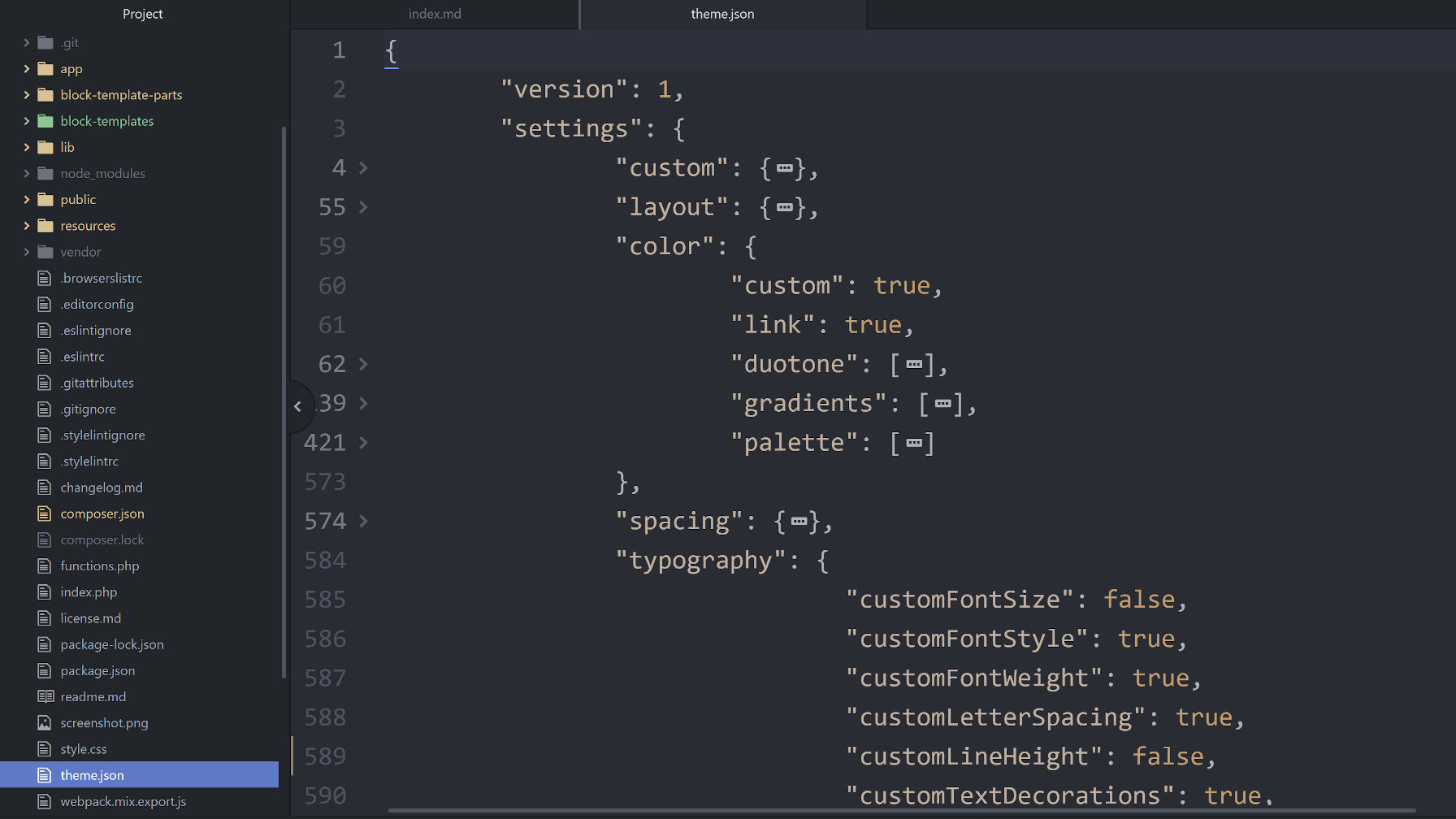 Screenshot of a theme.json file in a code editor.